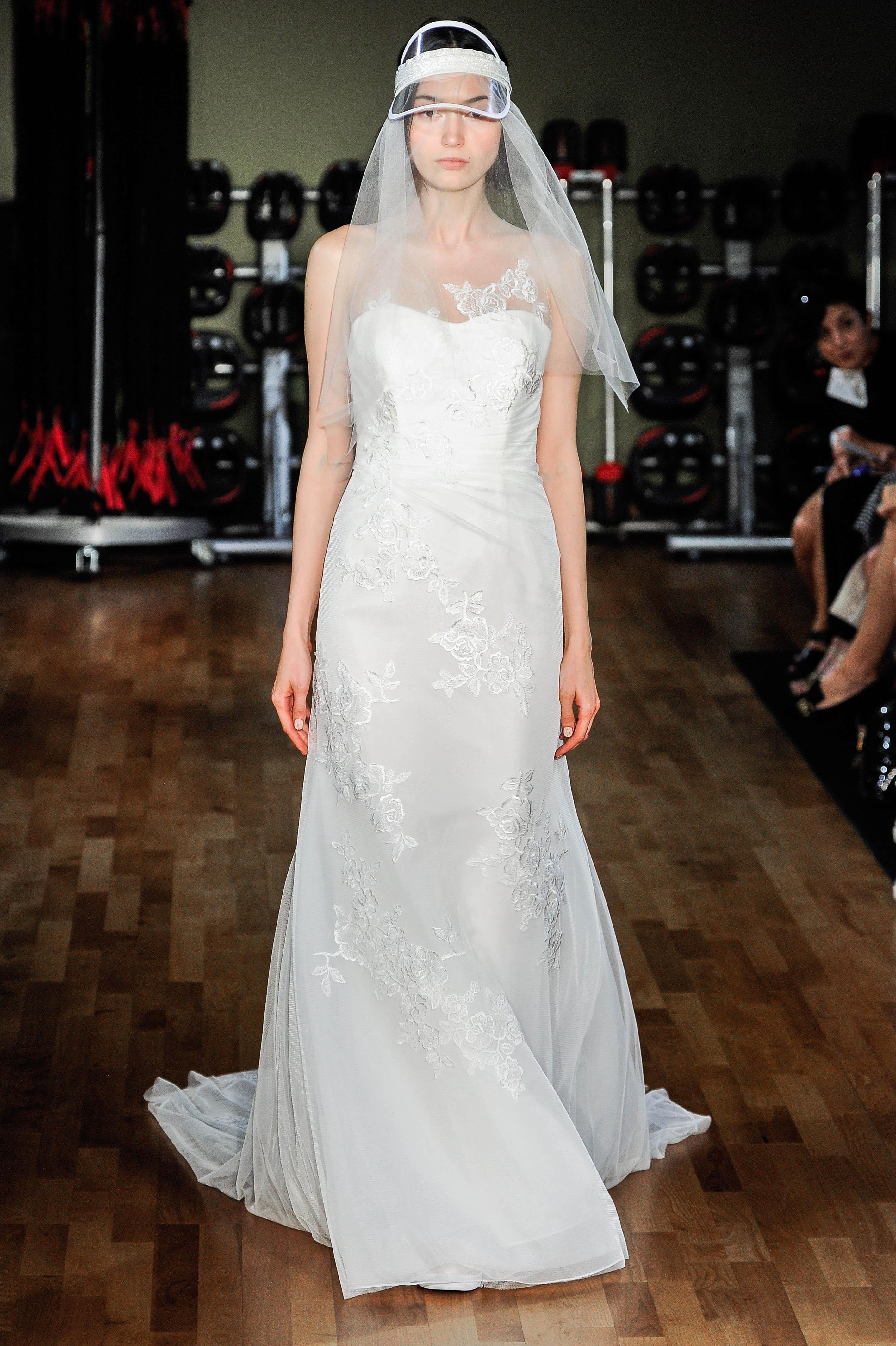 rivini by rita vinieris wedding dress fall 2018 strapless lace veil hat