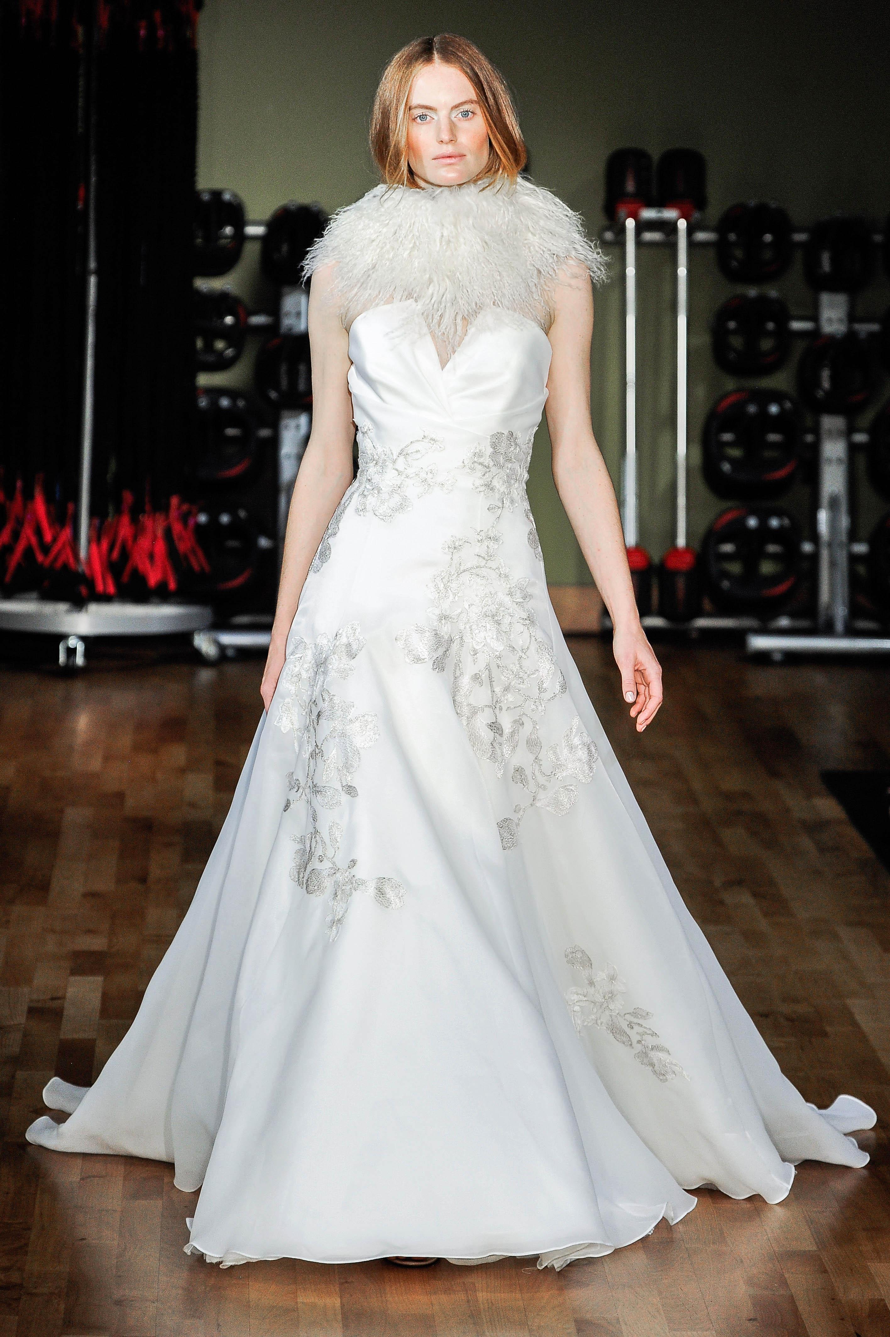 rivini by rita vinieris wedding dress fall 2018 strapless v-neck embellished feather neck piece