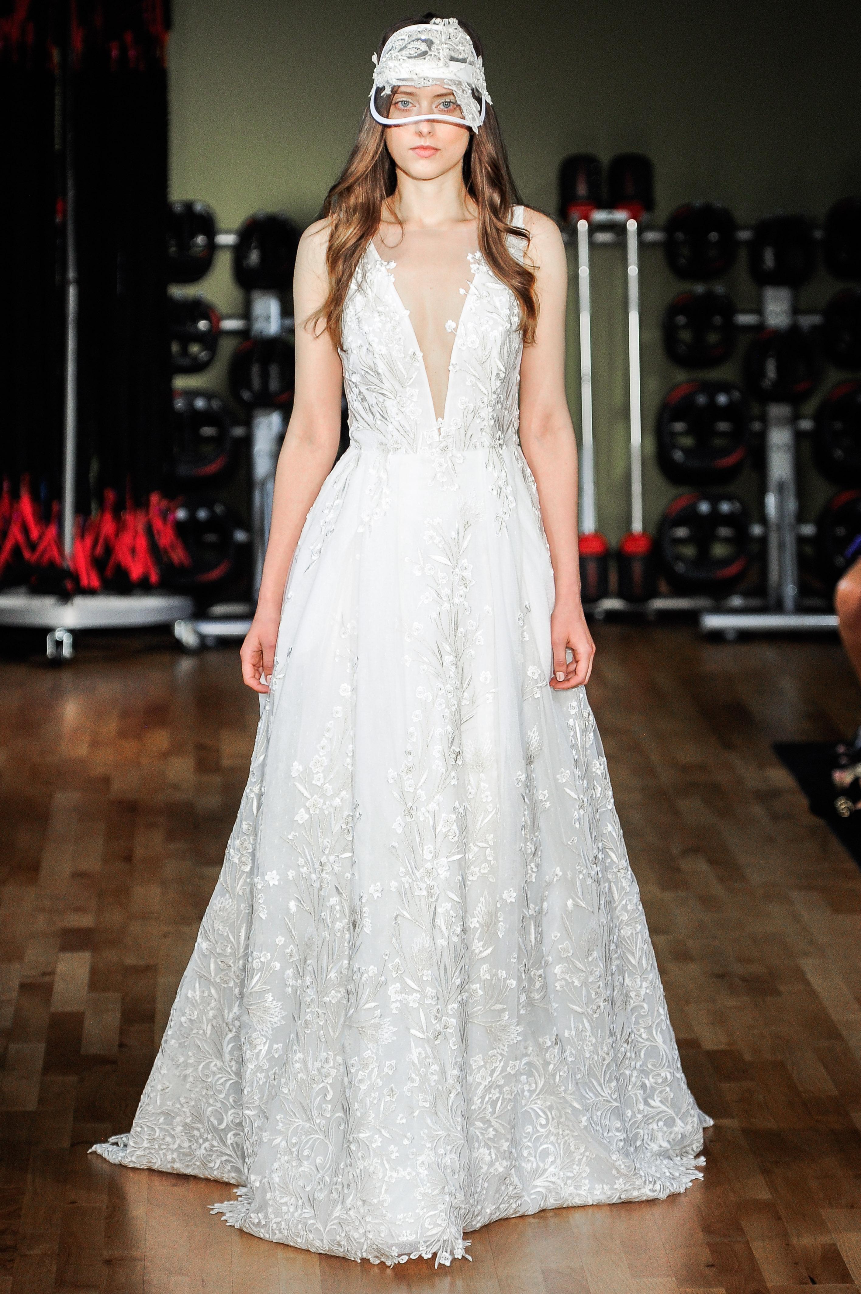 rivini by rita vinieris wedding dress fall 2018 lace deep v neck a-line