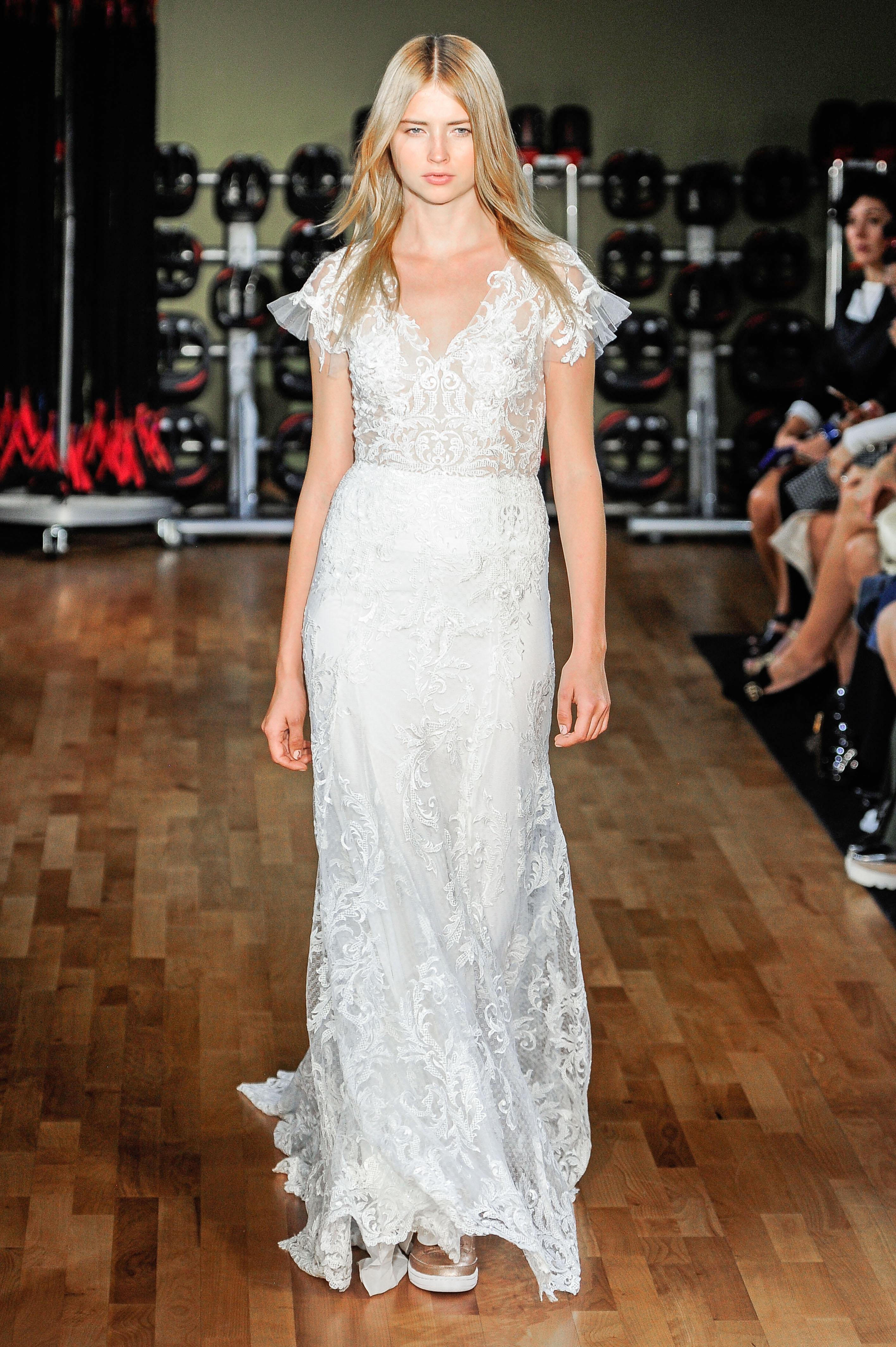 rivini by rita vinieris sheath lace wedding dress with short flowing sleeves fall 2018