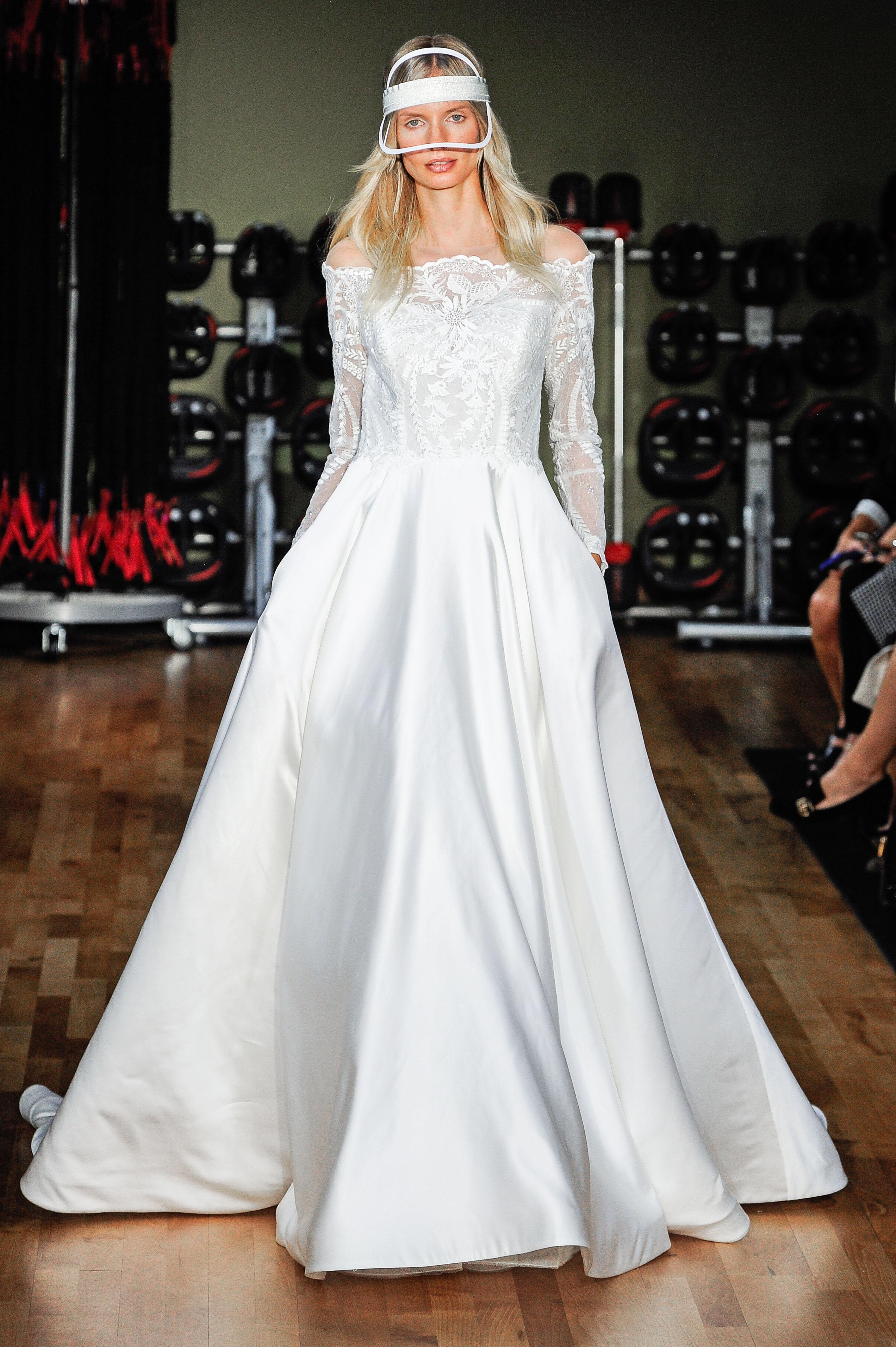 rivini by rita vinieris off-the-shoulder long sleeves a-line wedding dress fall 2018
