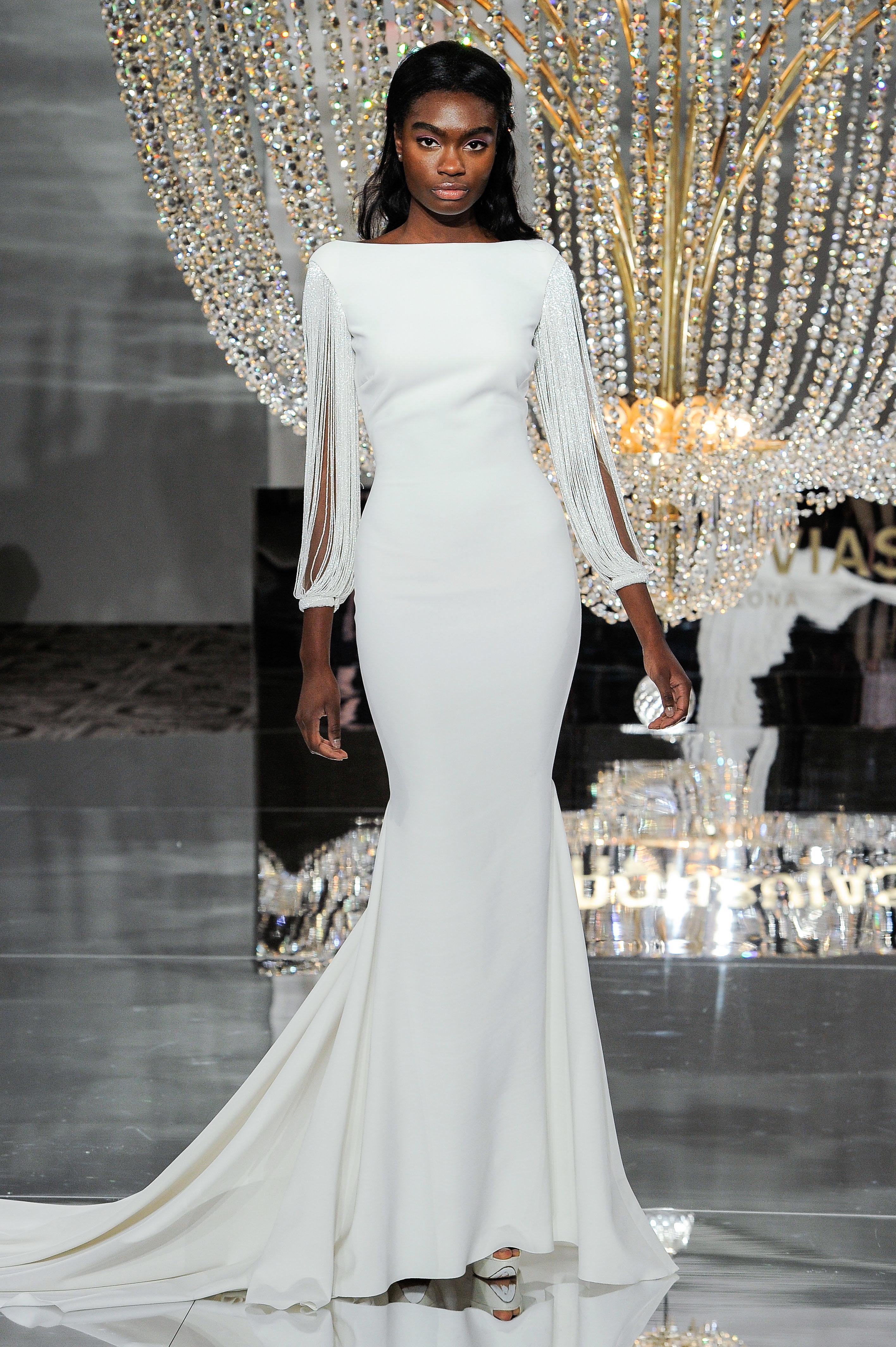 pronovias wedding dress fall 2018 long sleeve sheer lace mermaid