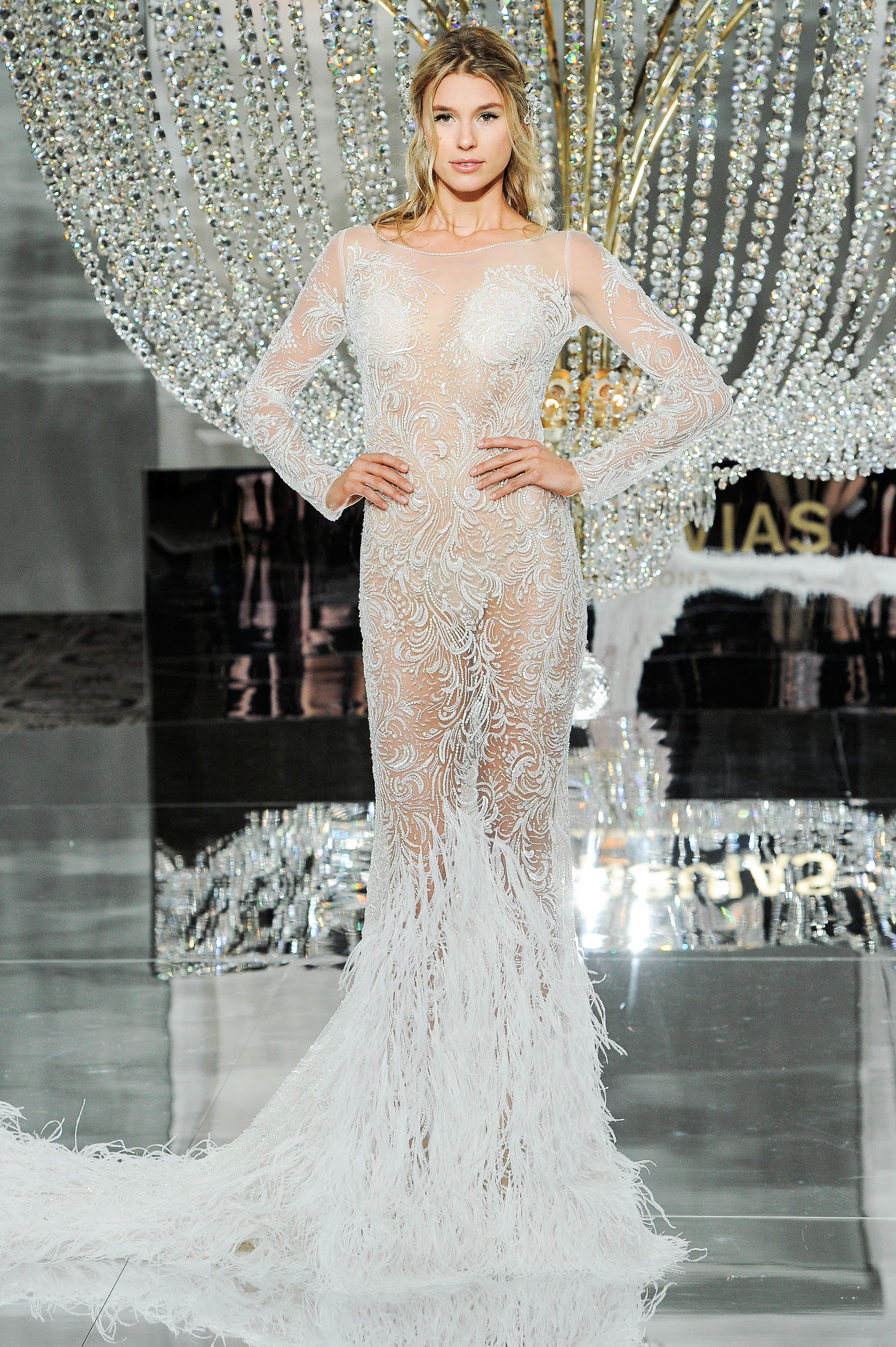pronovias wedding dress fall 2018 long sleeves sheer embellished feathers