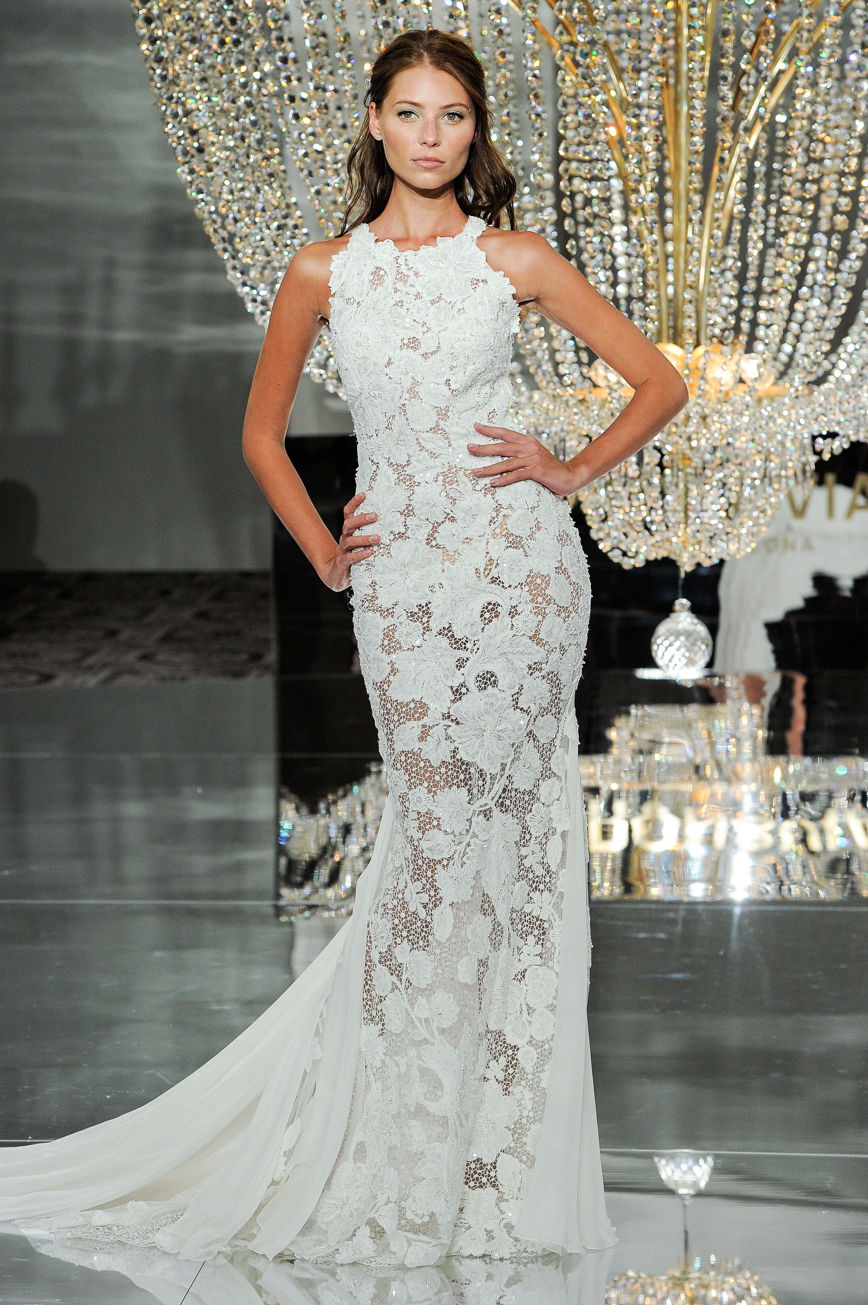 pronovias wedding dress fall 2018 sleeveless high neck trumpet embellished