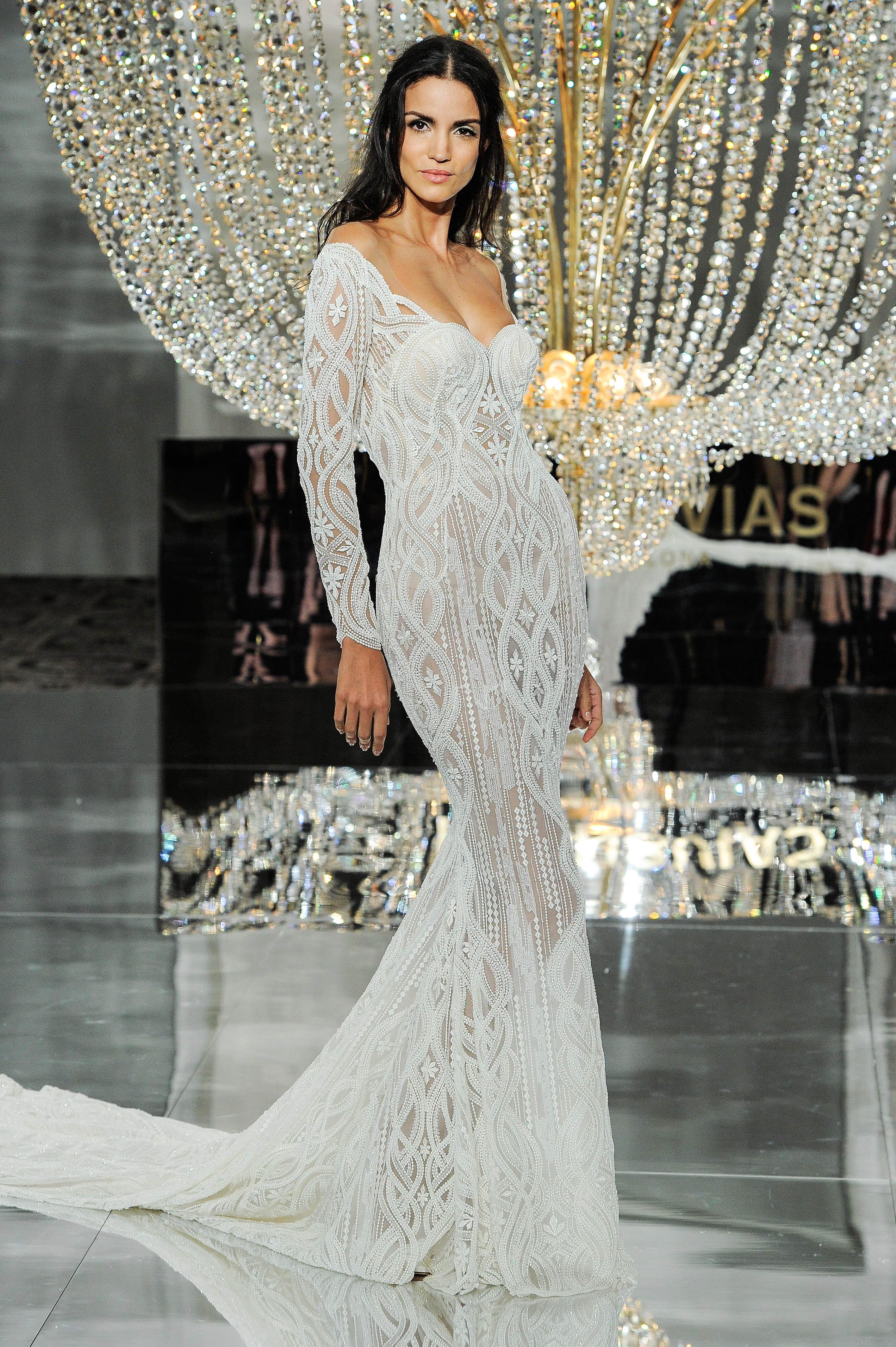 pronovias wedding dress fall 2018 trumpet long sleeves off the shoulder