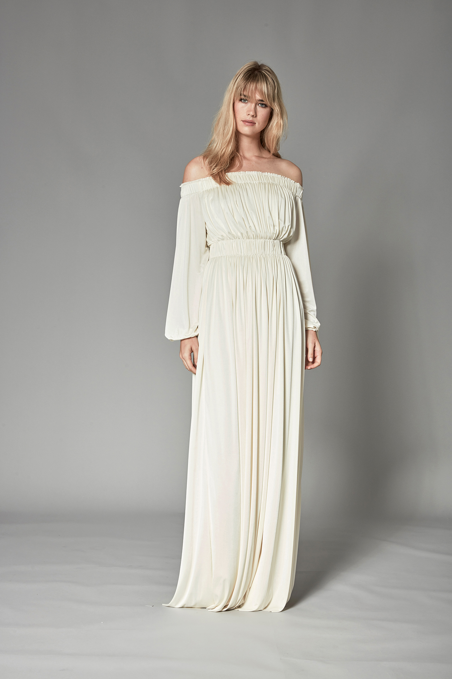 catherine deane fall 2018 off-the-shoulder cinched waist