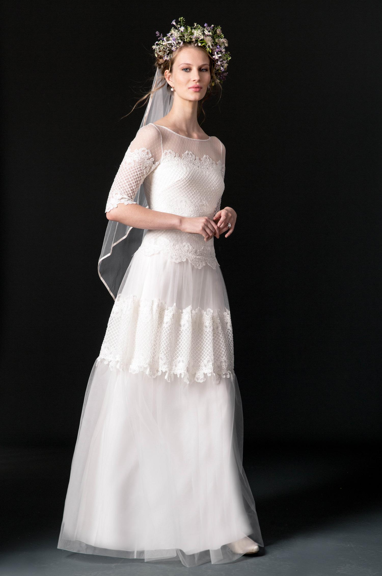 temperley wedding dress fall 2018 illusion lace long sleeve