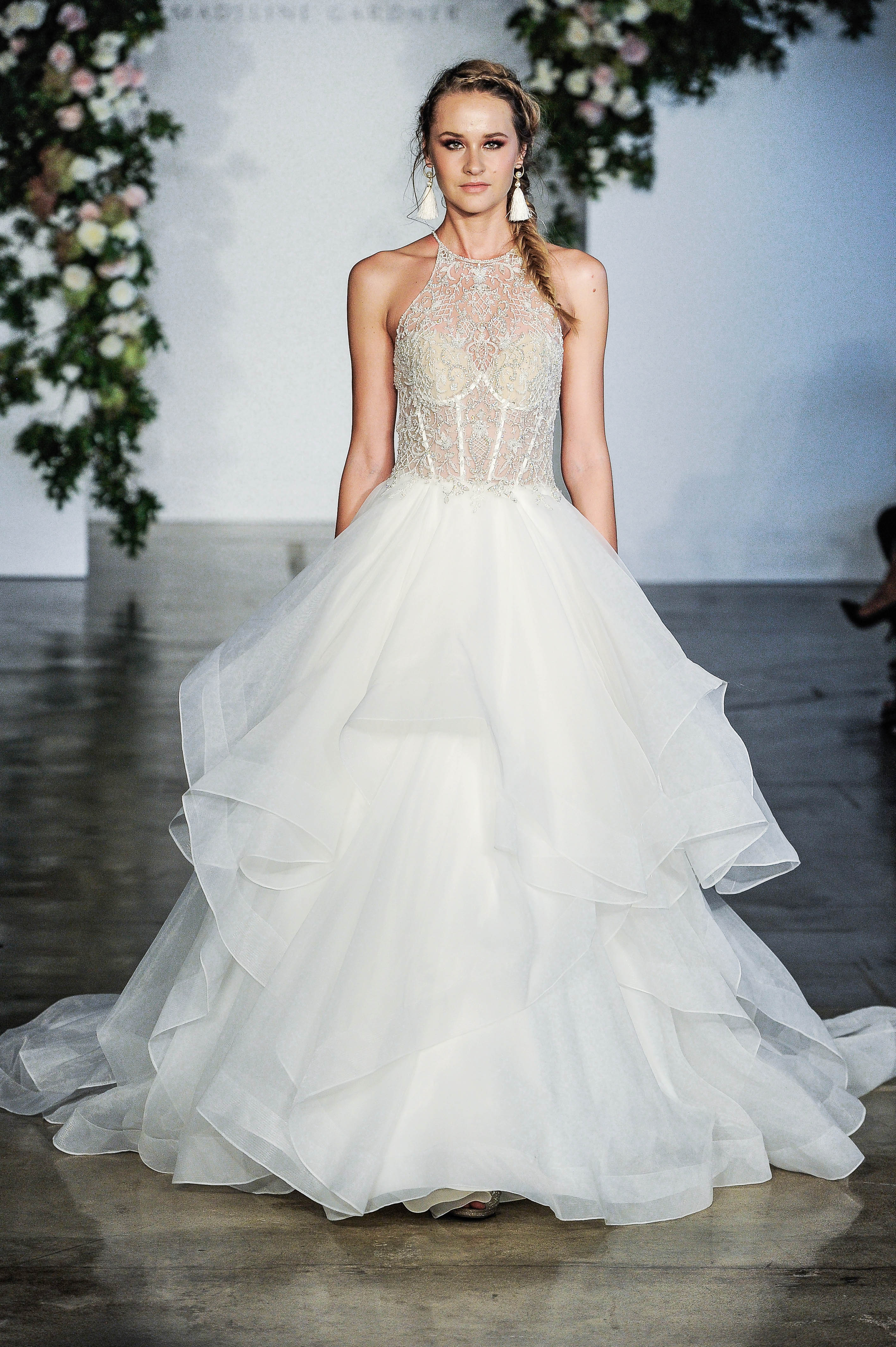 Morilee V-Neck Sheer Top Layered Skirt Wedding Dress Fall 2018