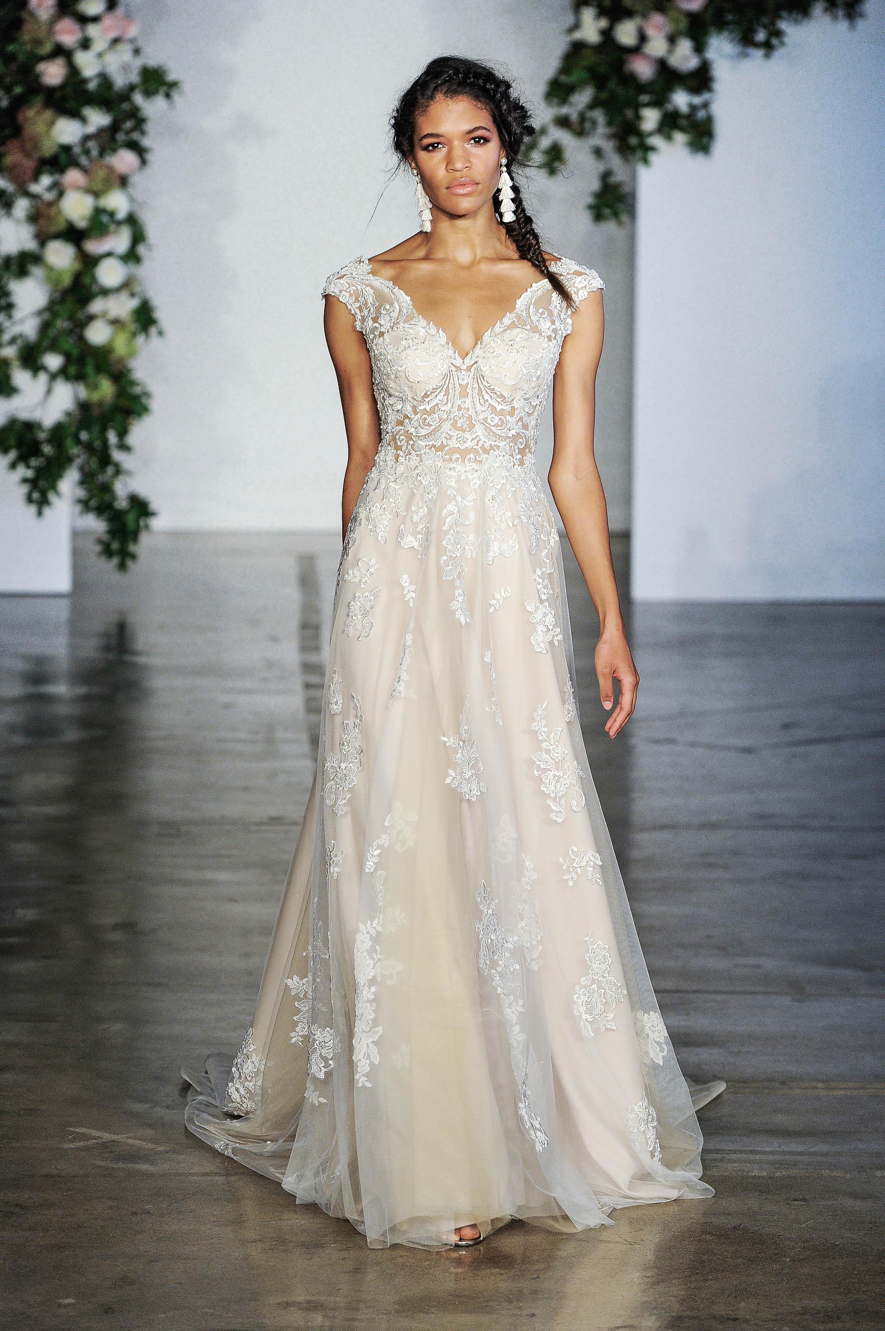 Morilee Cap Sleeve V-Neck Wedding Dress Fall 2018
