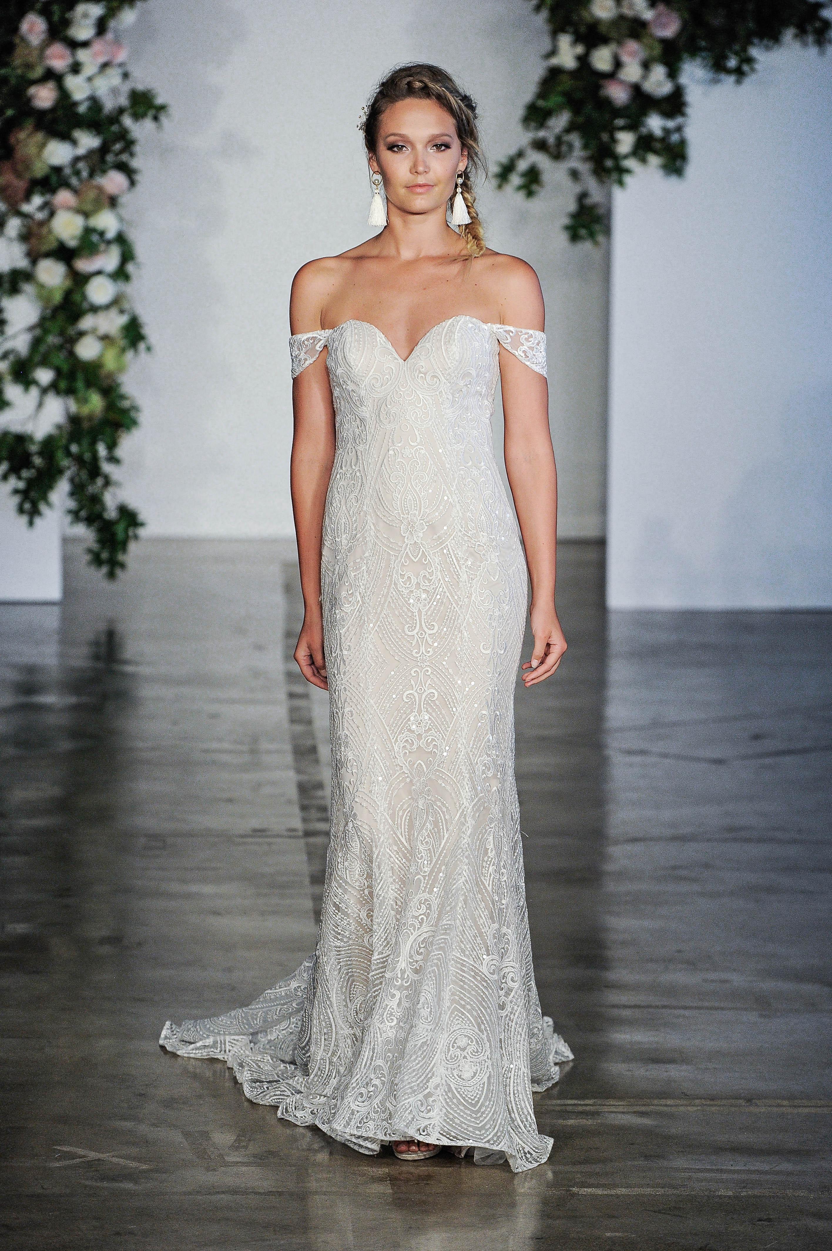 Morilee Off-the-Shoulder Sweetheart Sheath Wedding Dress Fall 2018