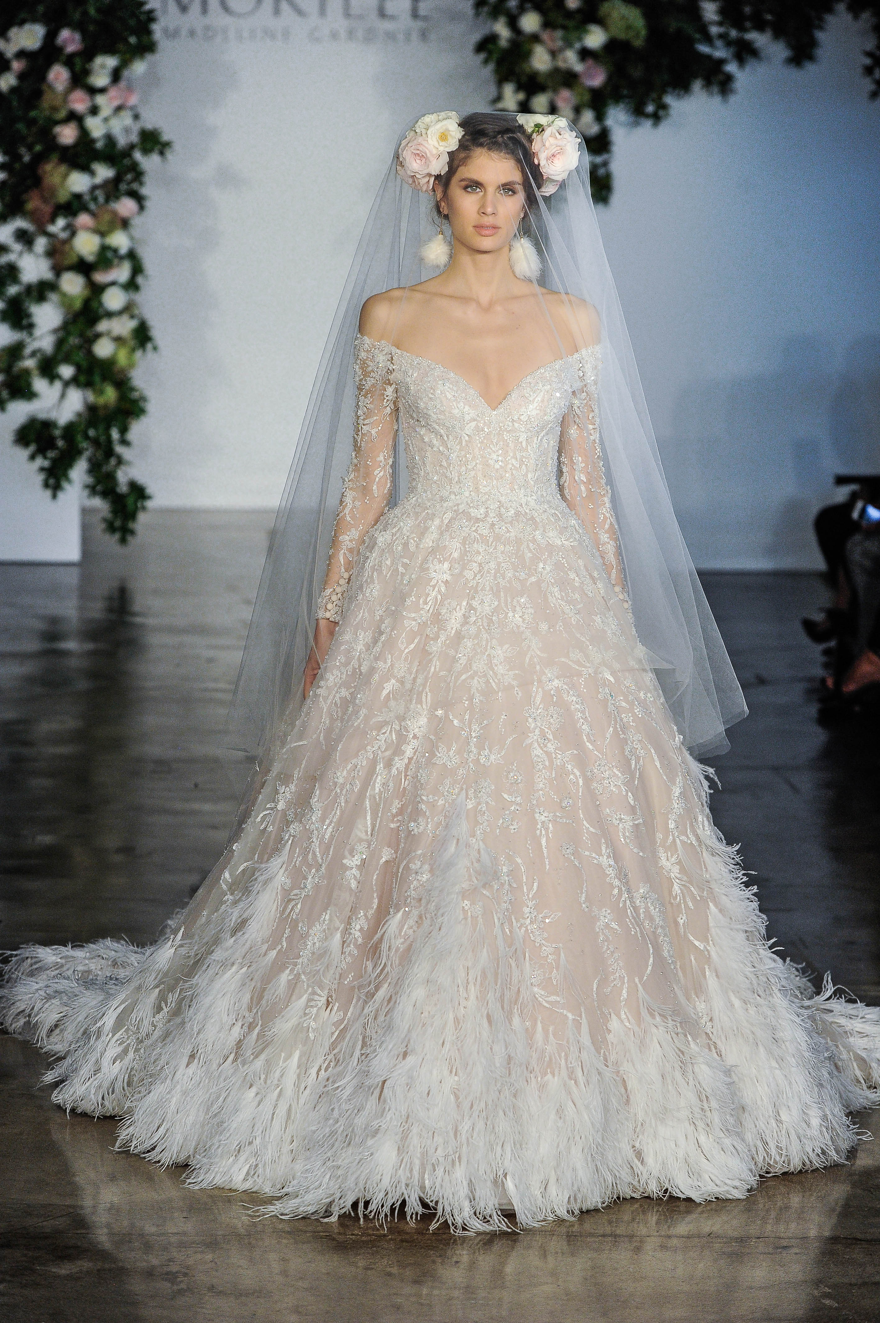 Morilee Off-the-Shoulder Long Sleeves Ball Gown Wedding Dress Fall 2018