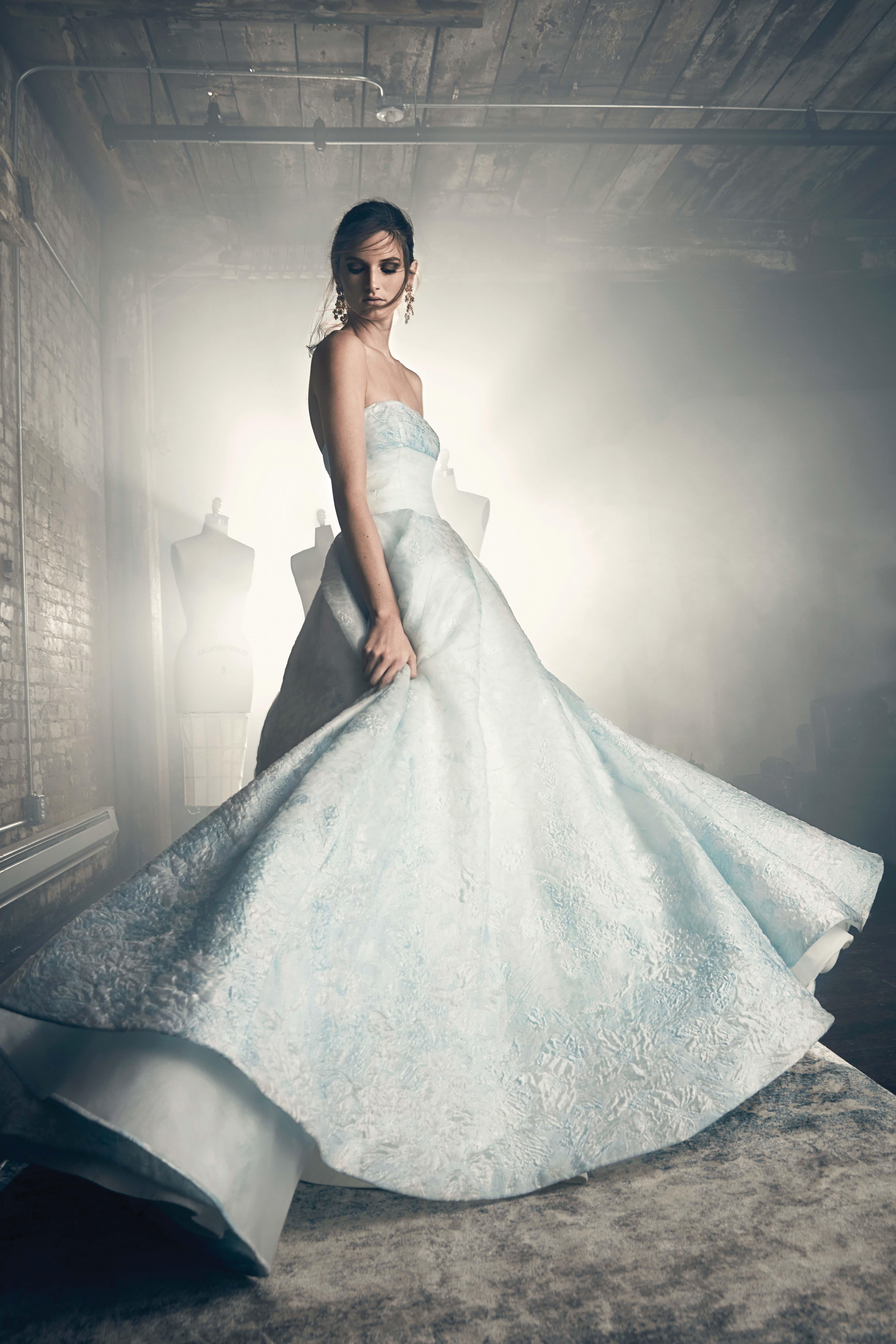 sareh nouri fall 2018 strapless lace blue wedding dress