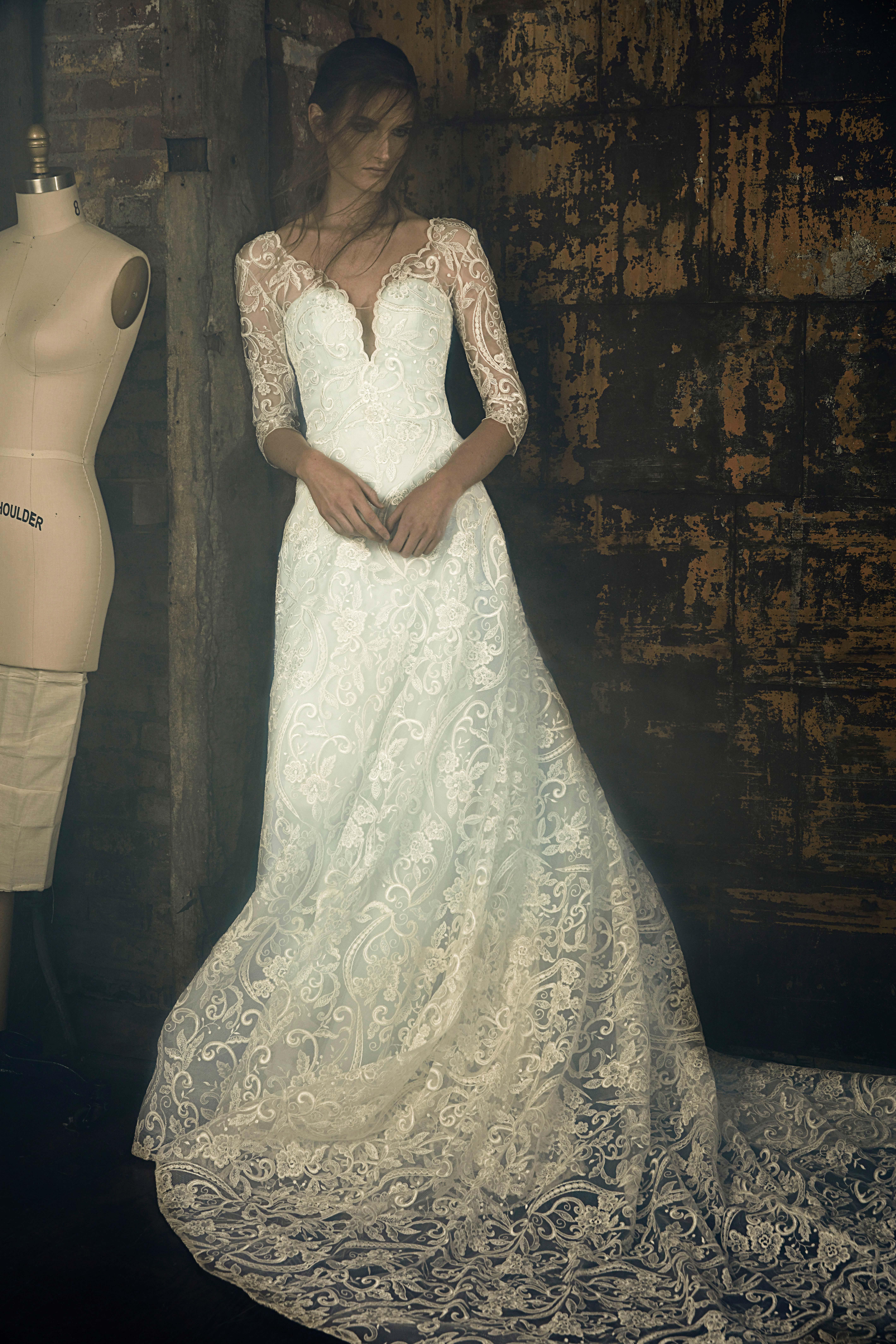 sareh nouri fall 2018 lace long sleeve wedding dress