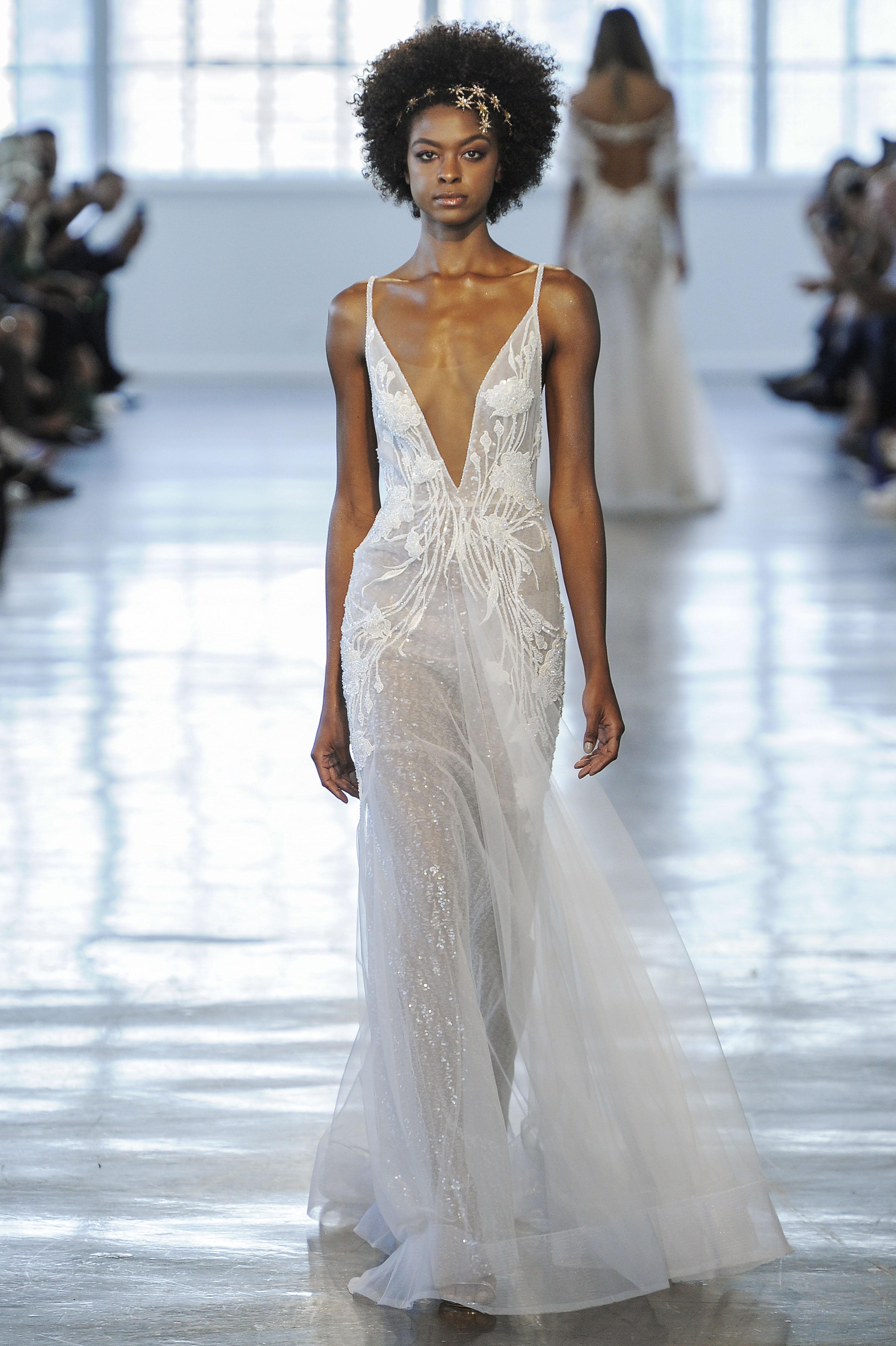 Berta Sheer Plunging V-Neck Wedding Dress Fall 2018