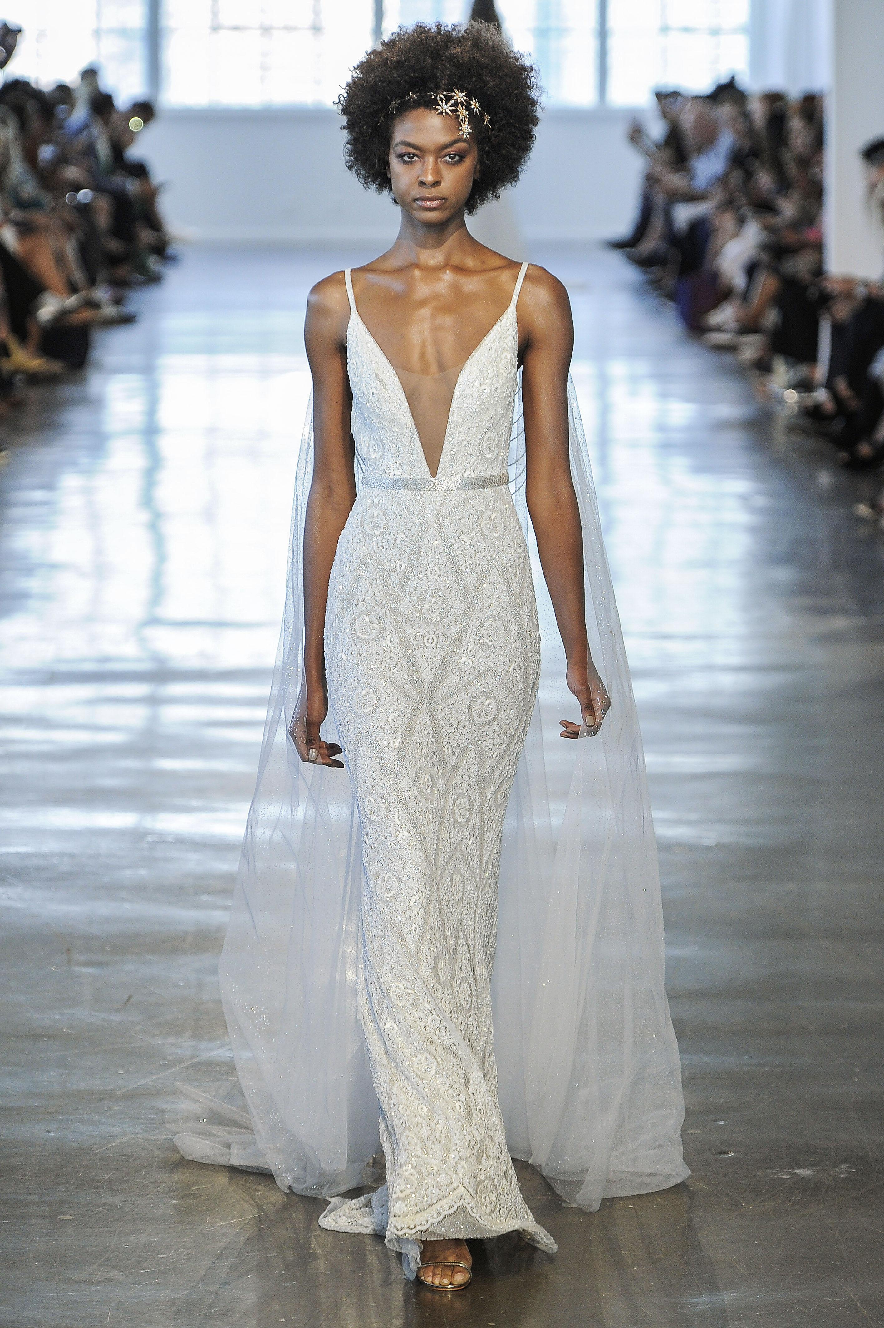 Berta Spaghetti Strap V-Neck Wedding Dress Fall 2018
