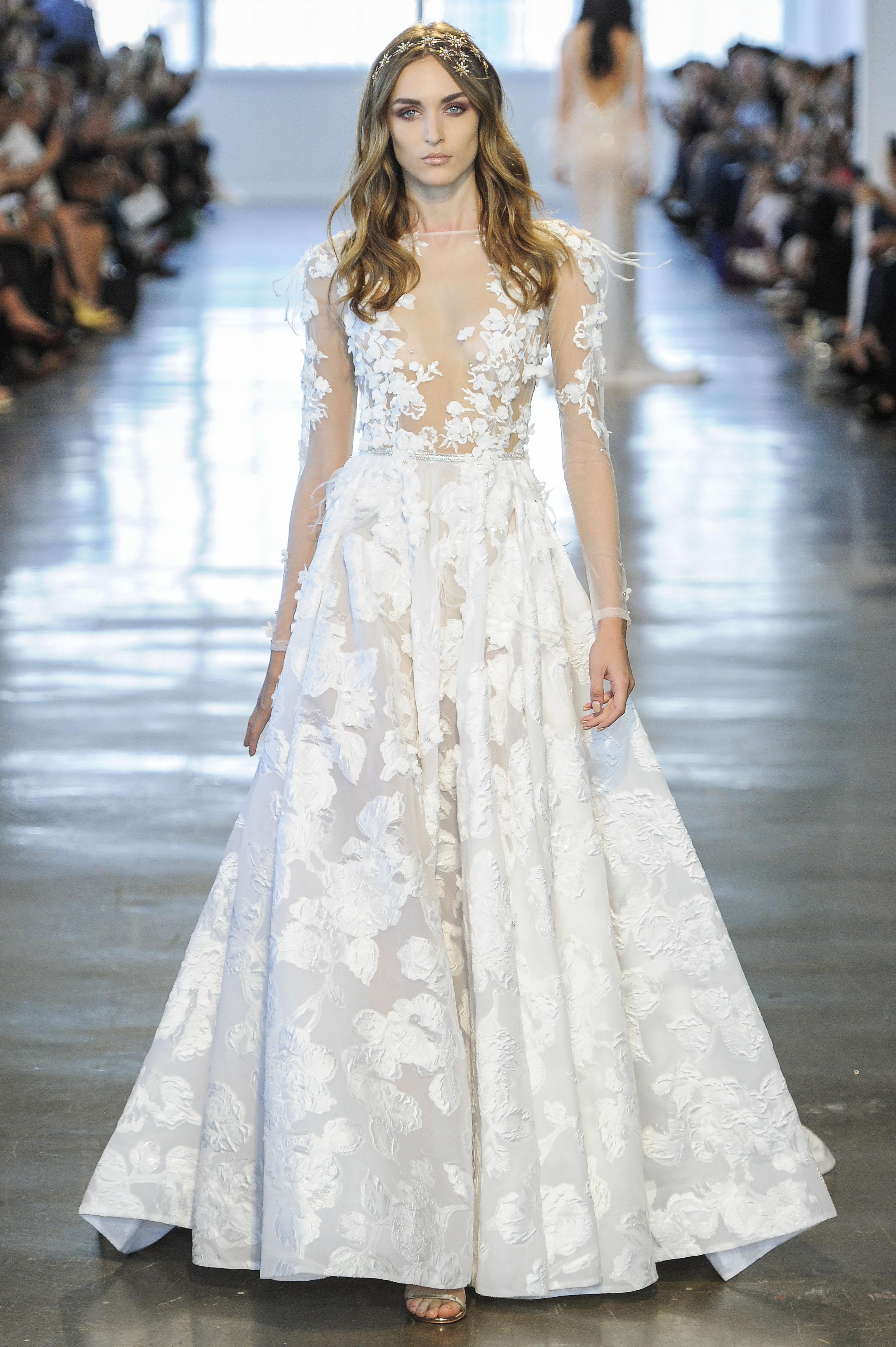 Berta Floral A-Line Wedding Dress Fall 2018