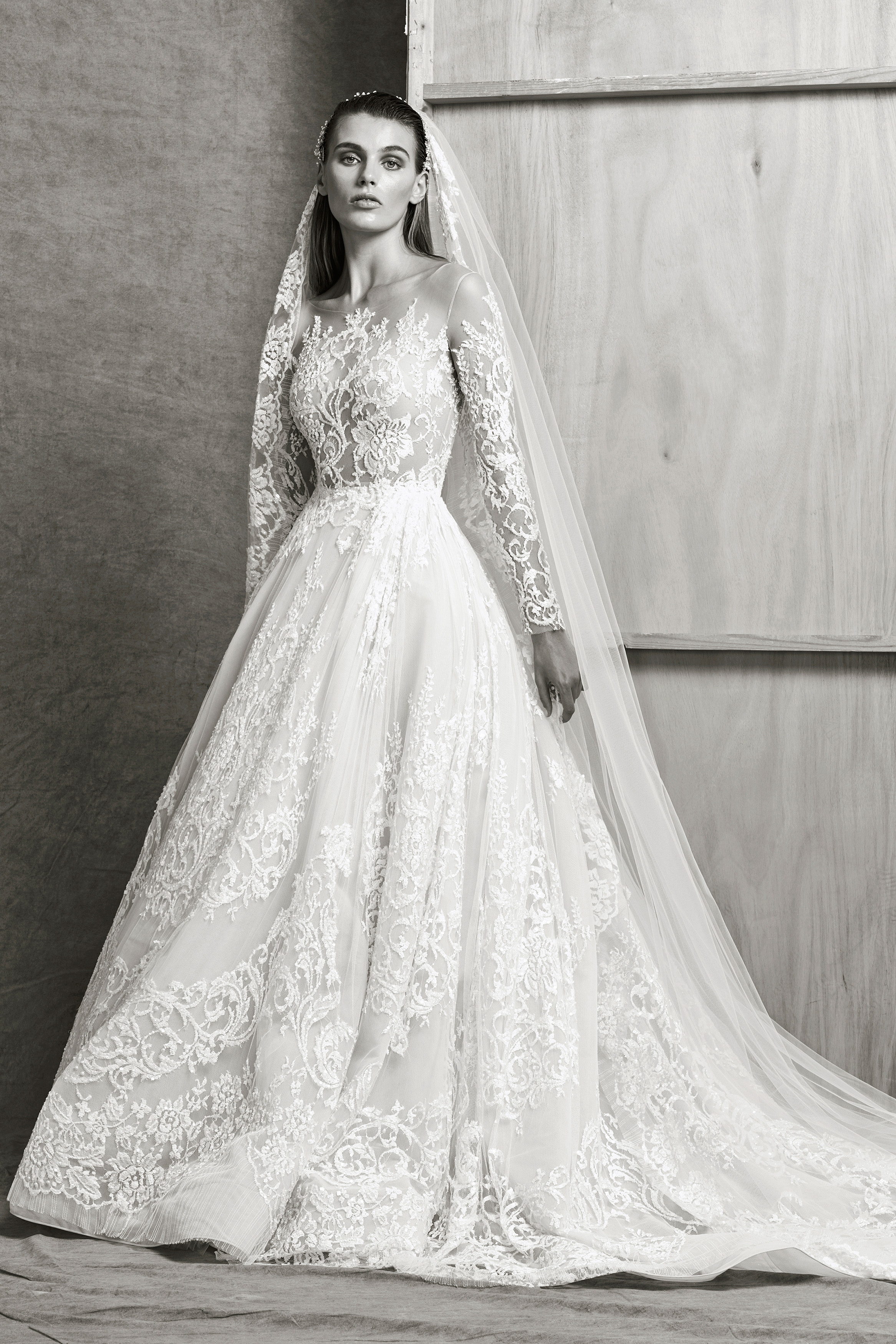 zuhair murad a-line ball gown wedding dress with lace fall 2018