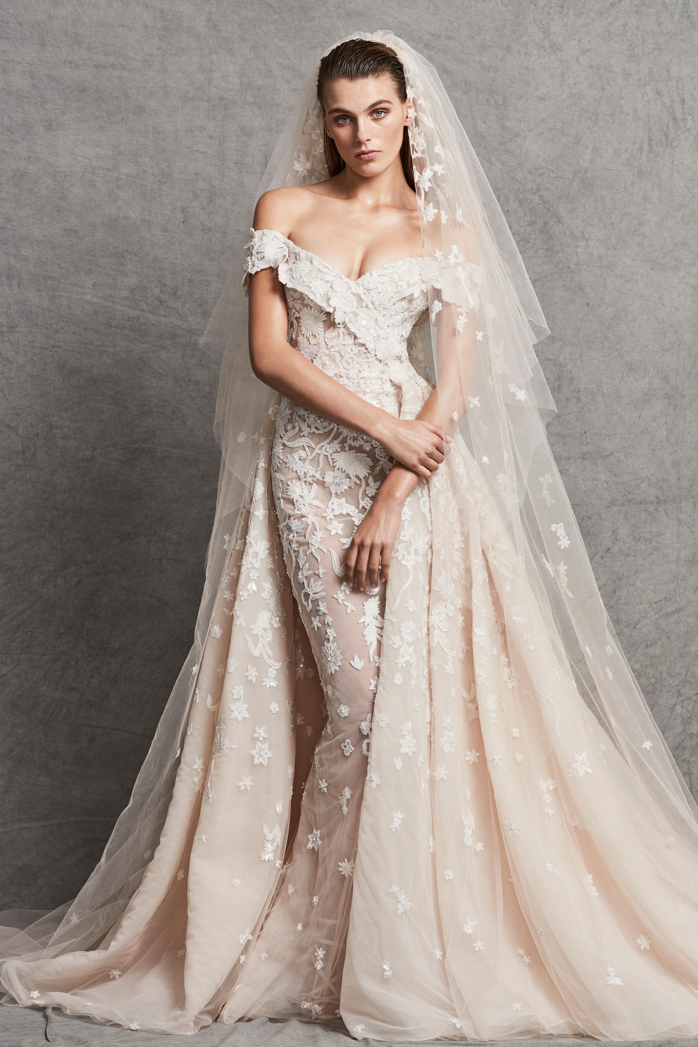zuhair murad off-the-shoulder lace wedding dress fall 2018