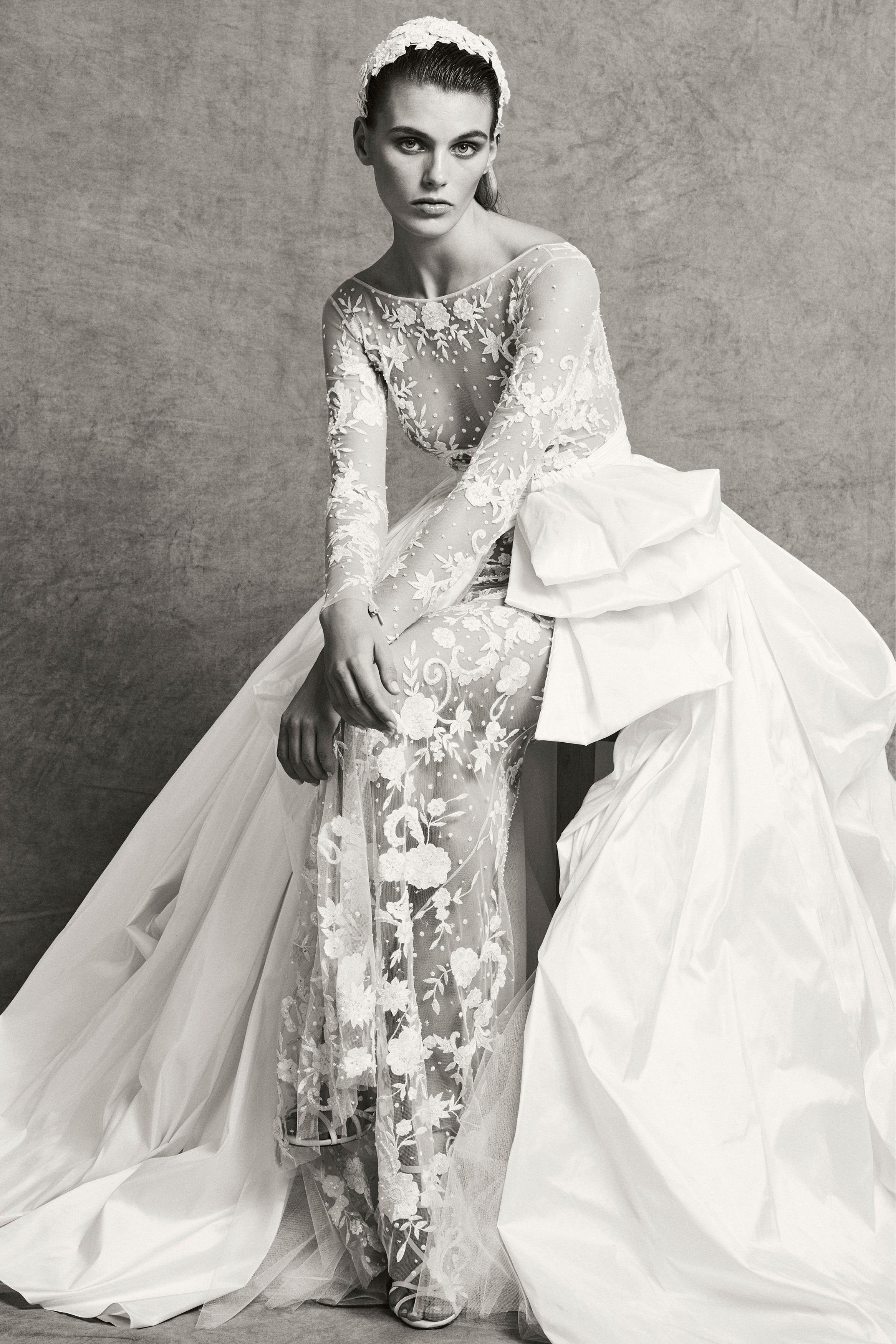 zuhair murad high neck lace sheath wedding dress with taffeta train fall 2018