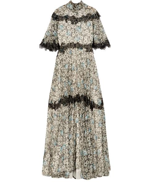 long flutter sleeve gown