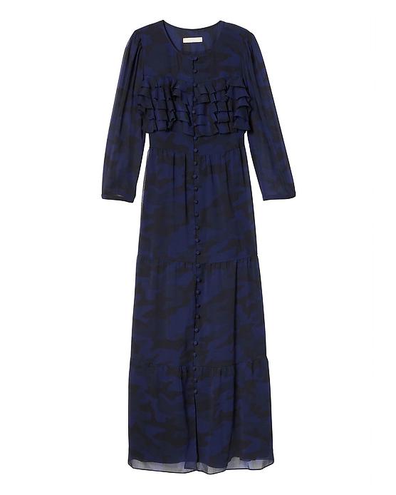 blue long sleeve bridesmaid dress button down
