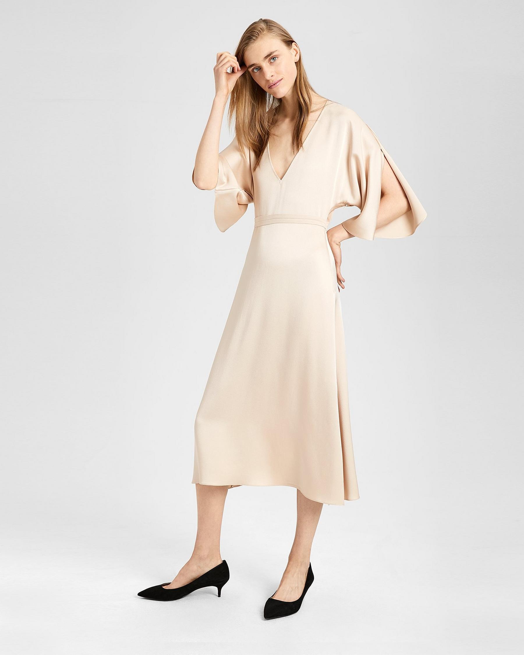 tan v-neck gown
