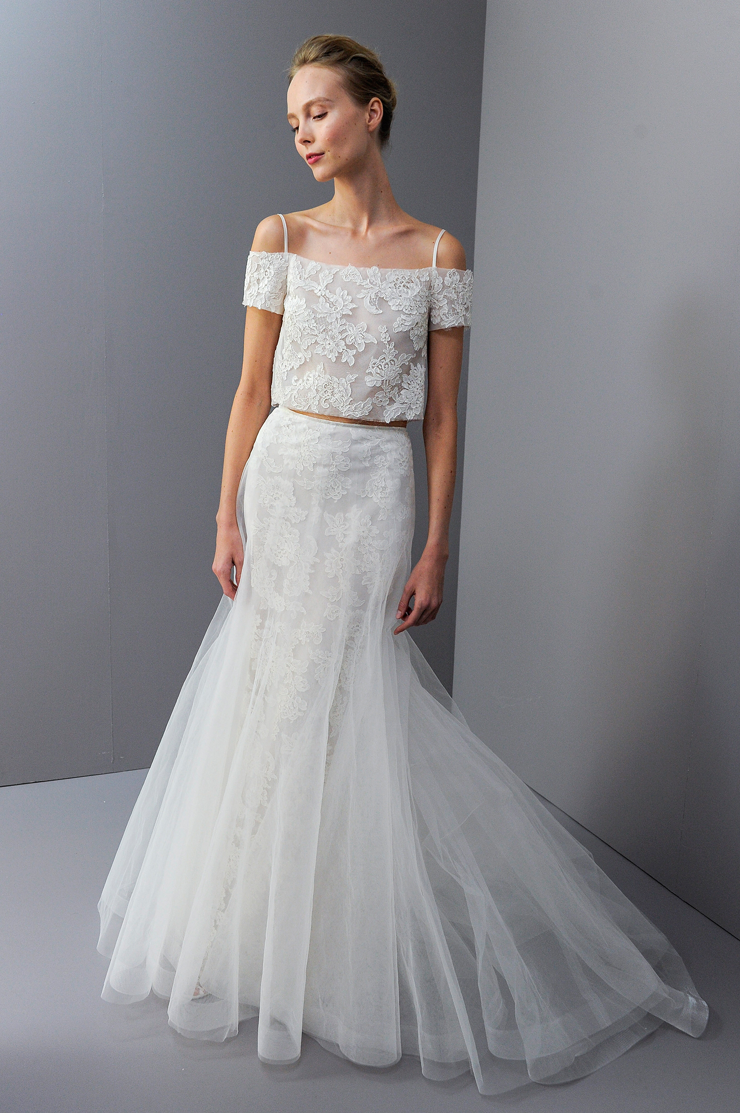 amsale fall 2018 two-piece embroidered with layers