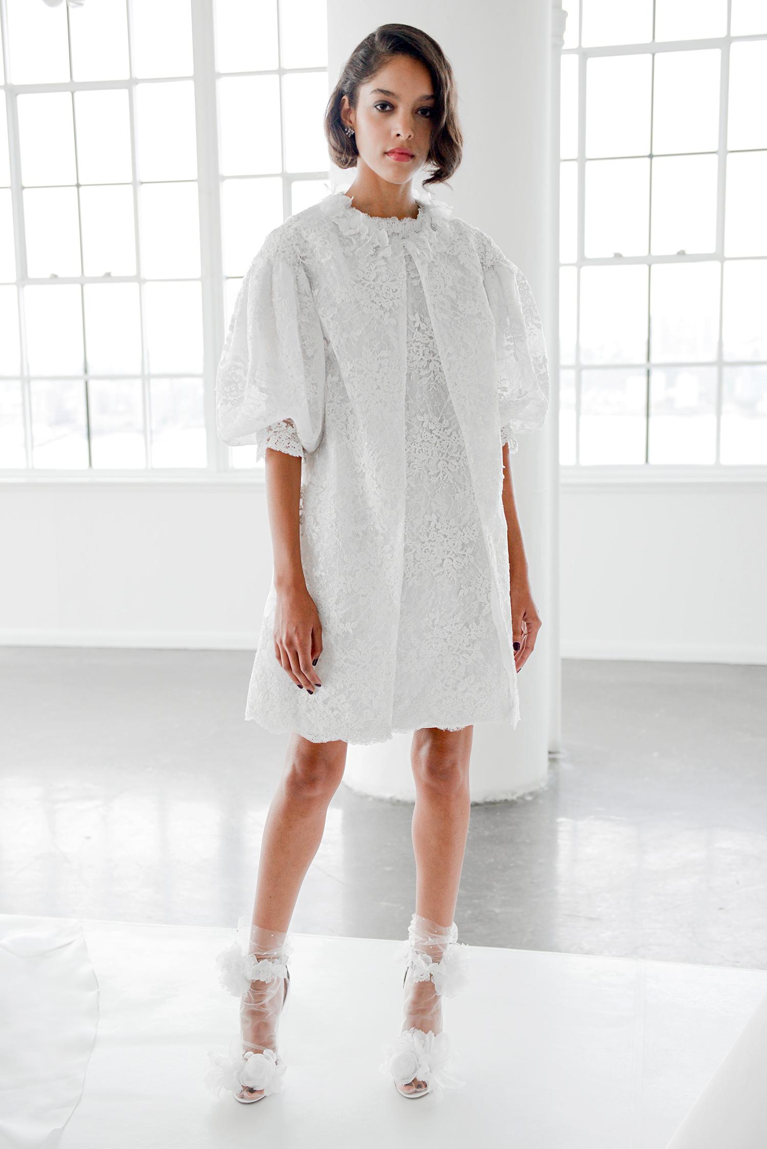 marchesa fall 2018 knee-length with flouncy sleeves