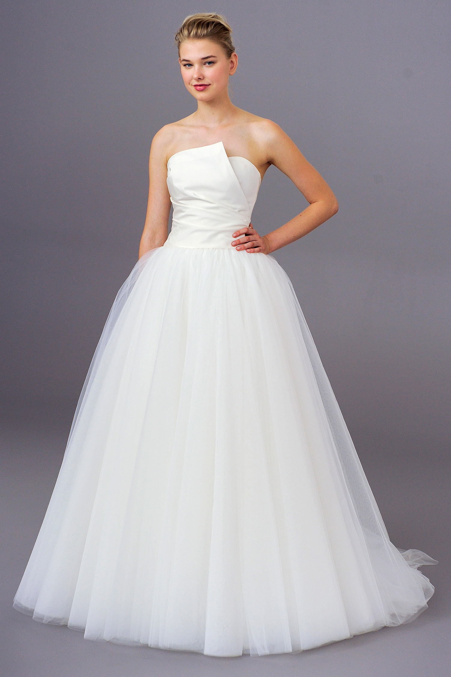 amsale fall 2018 ball gown with asymmetrical bodice