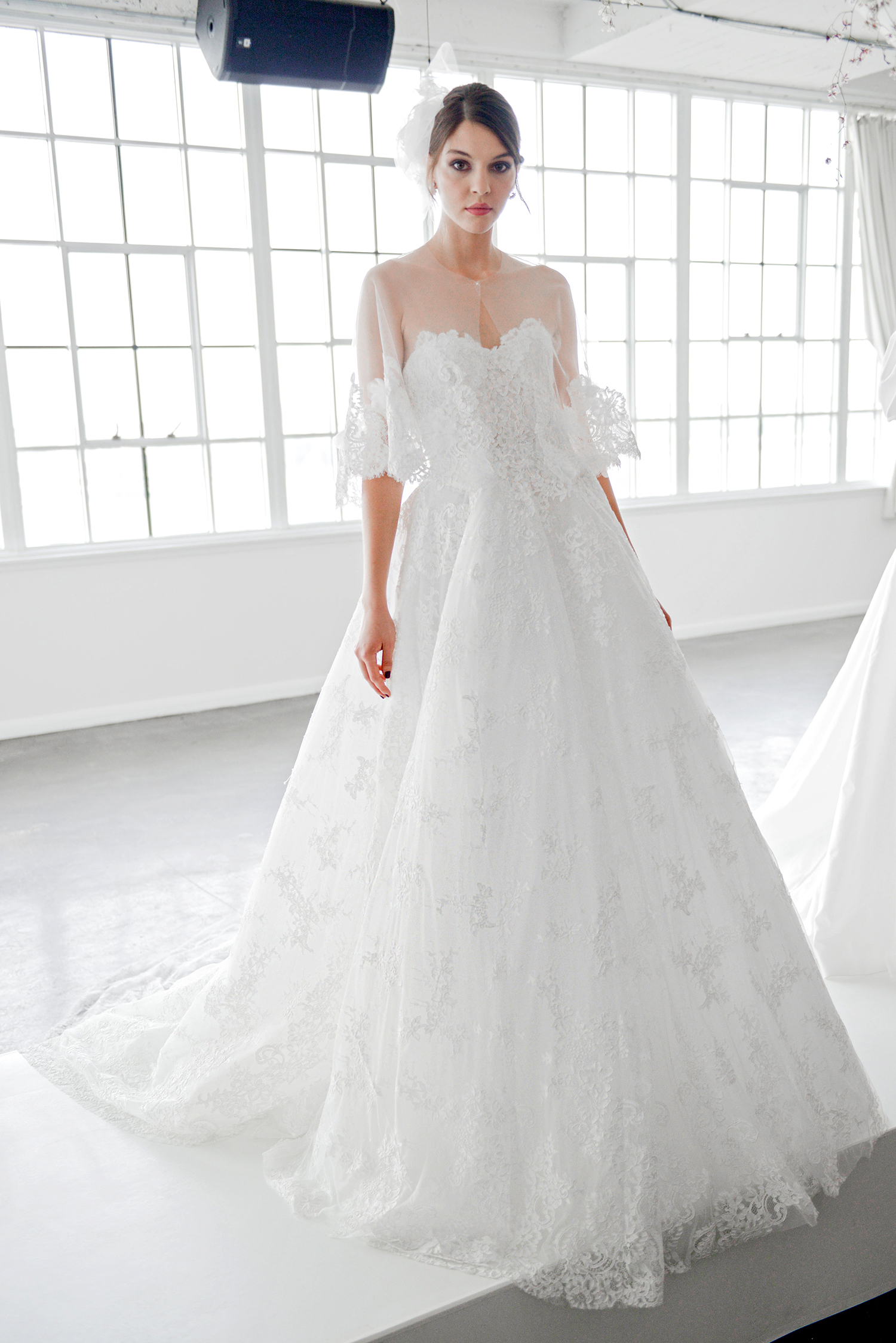 marchesa fall 2018 sweetheart with sheer capelet