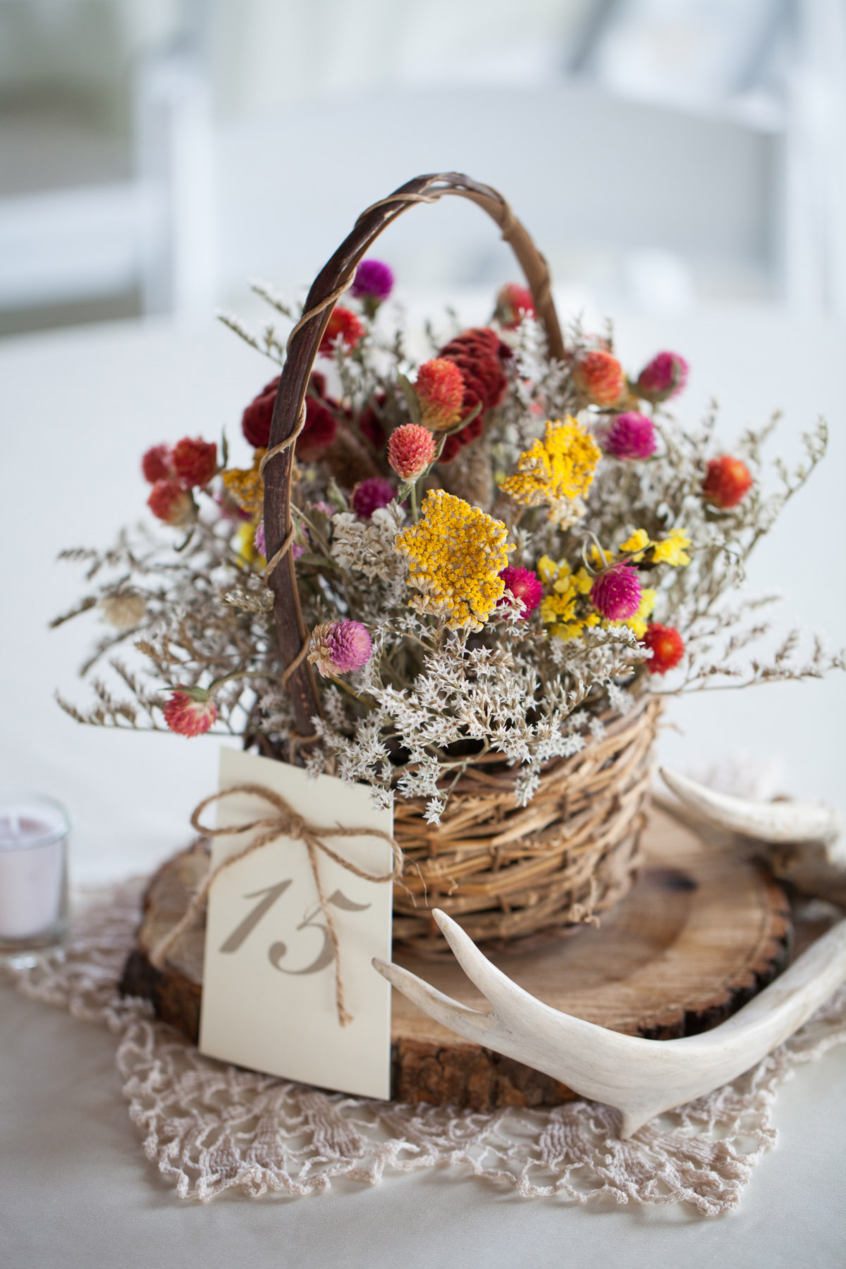 Dried Flower Basket Centerpiece