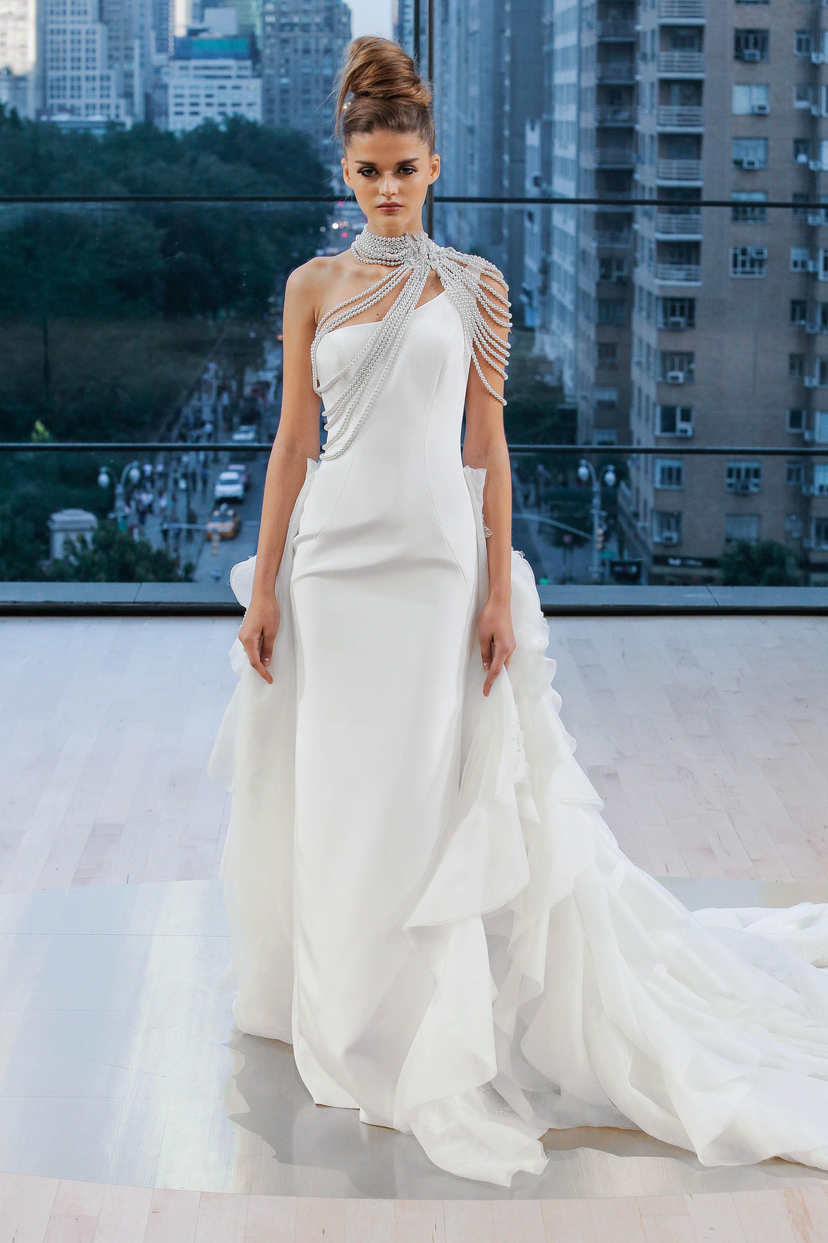 Ines Di Santo One-Shoulder Wedding Dress Fall 2018