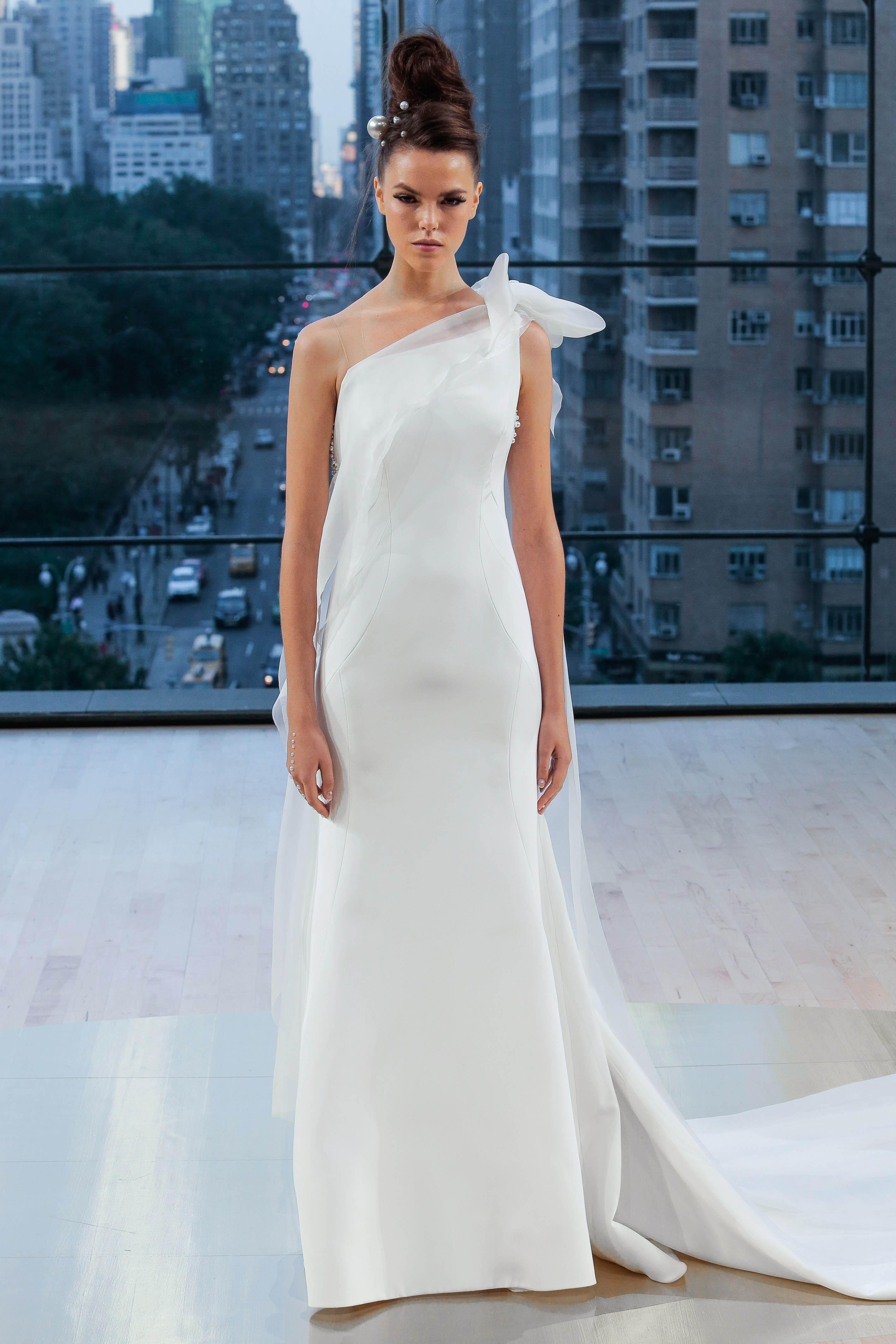 Ines Di Santo One-Shoulder Sheath Wedding Dress Fall 2018