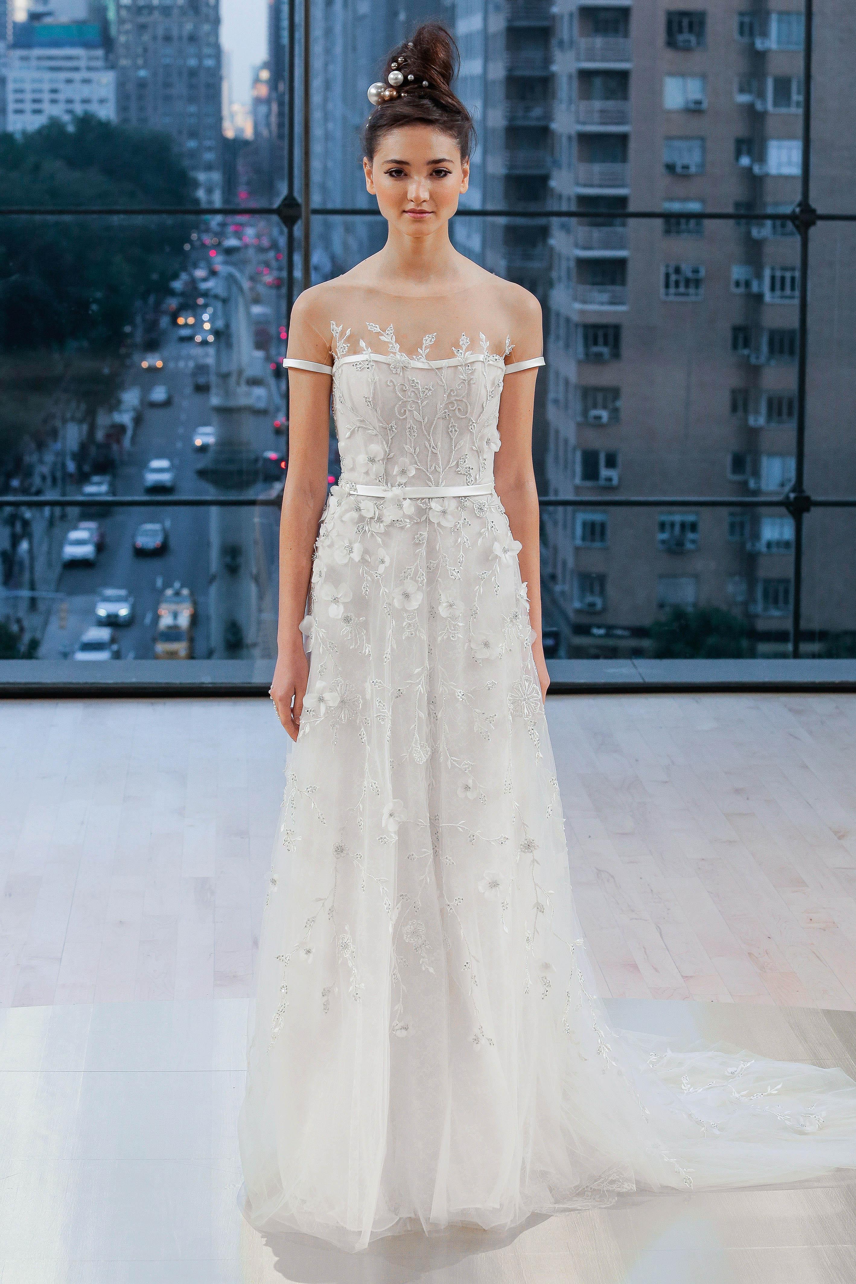 Ines Di Santo Floral Illusion Wedding Dress Fall 2018