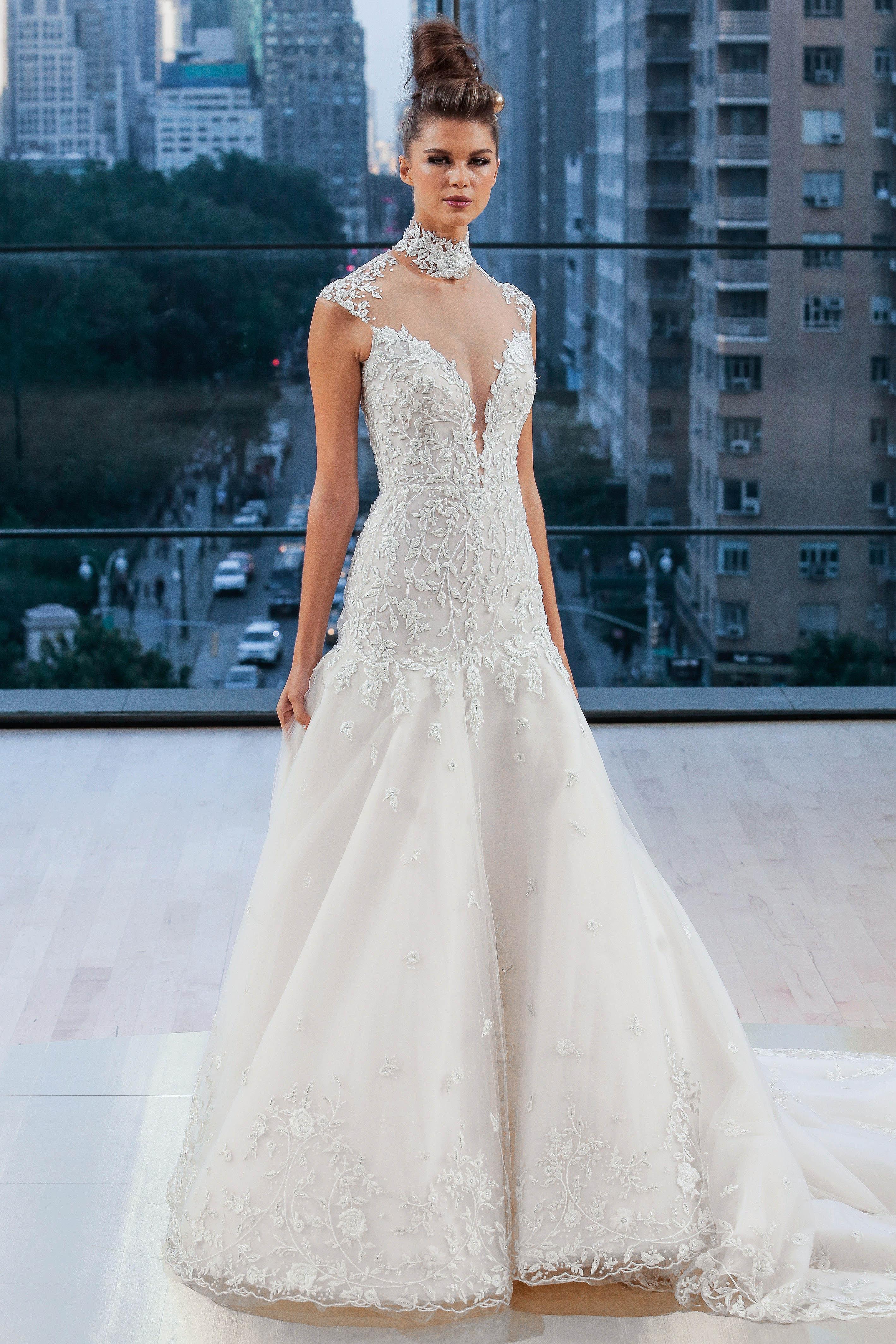 Ines Di Santo V-Neck Trumpet Wedding Dress Fall 2018