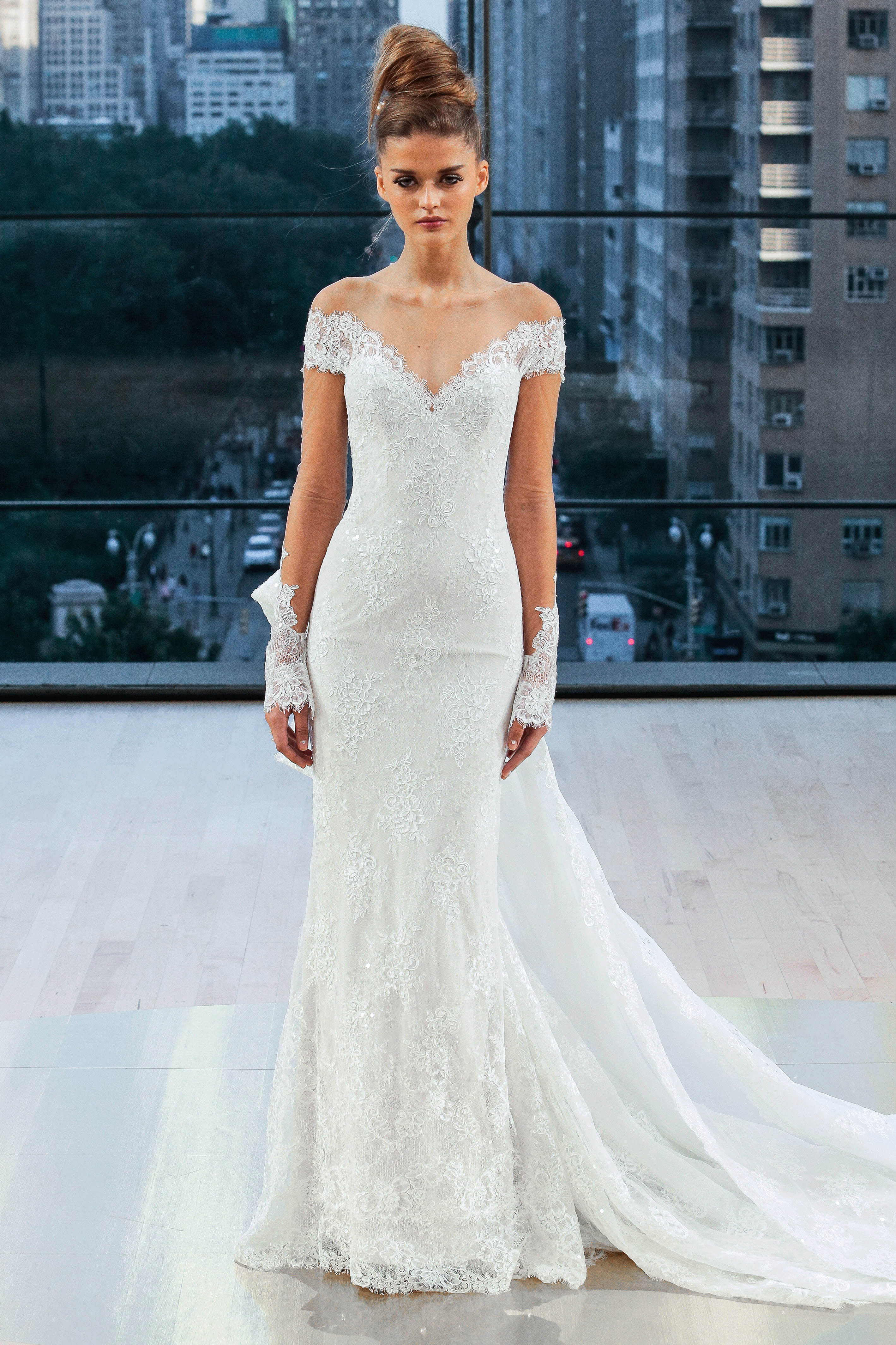 ines di santo wedding dress fall 2018 off the shoulder illusion lace long sleeves trumpet