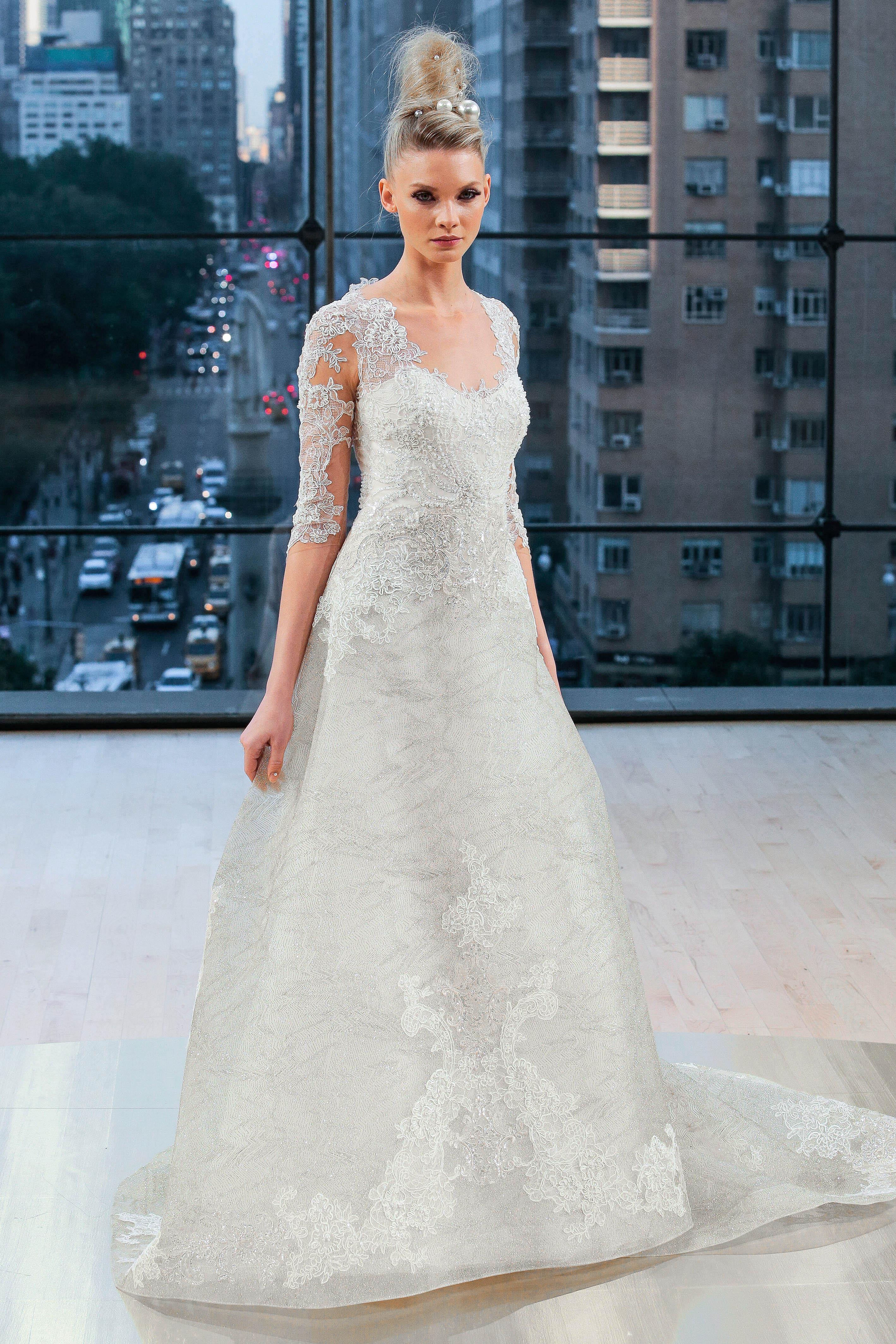 ines di santo wedding dress fall 2018 three-quarter length sleeves lace a-line