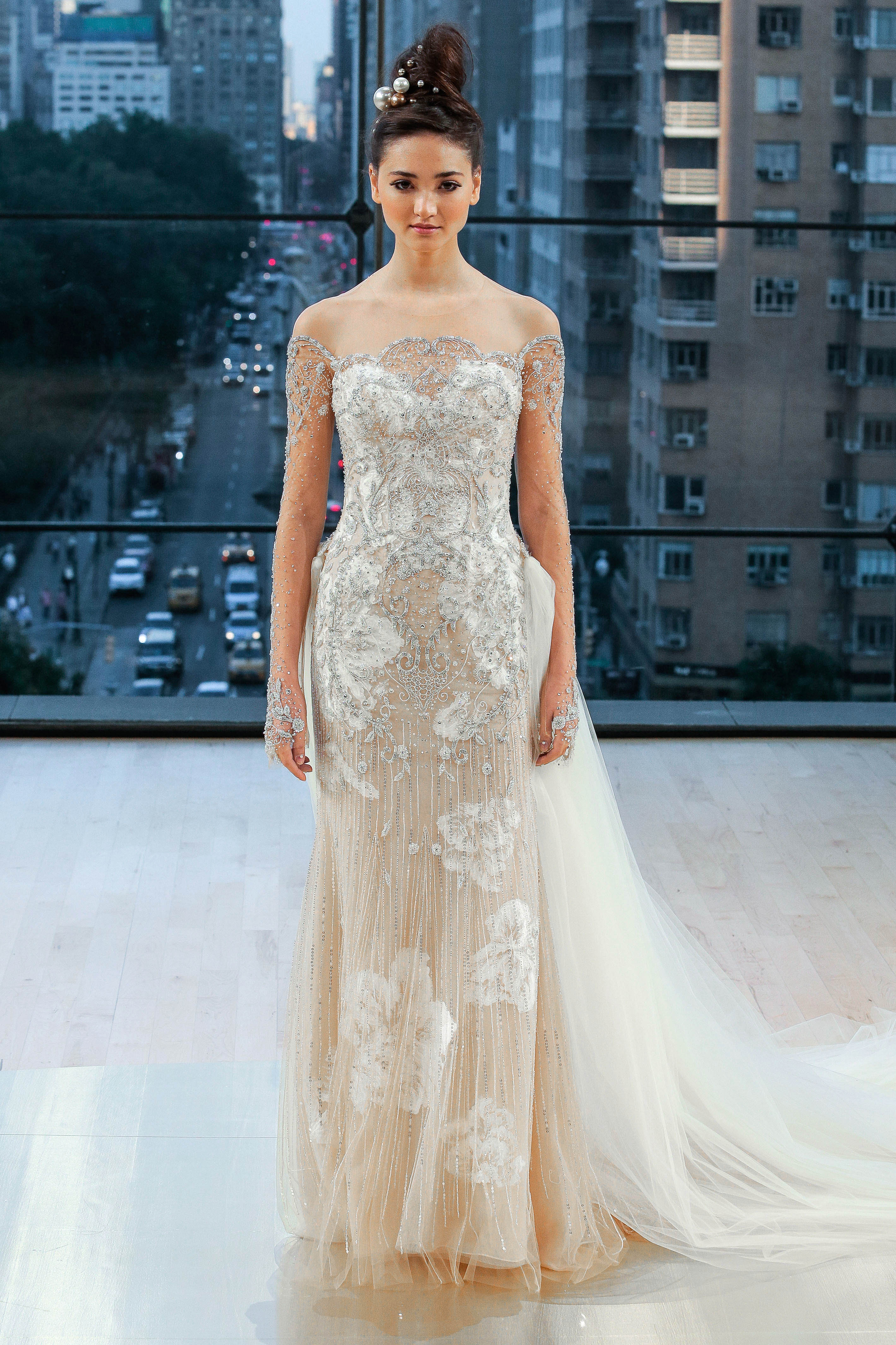 ines di santo wedding dress fall 2018 off the shoulder illusion long sleeves embellished