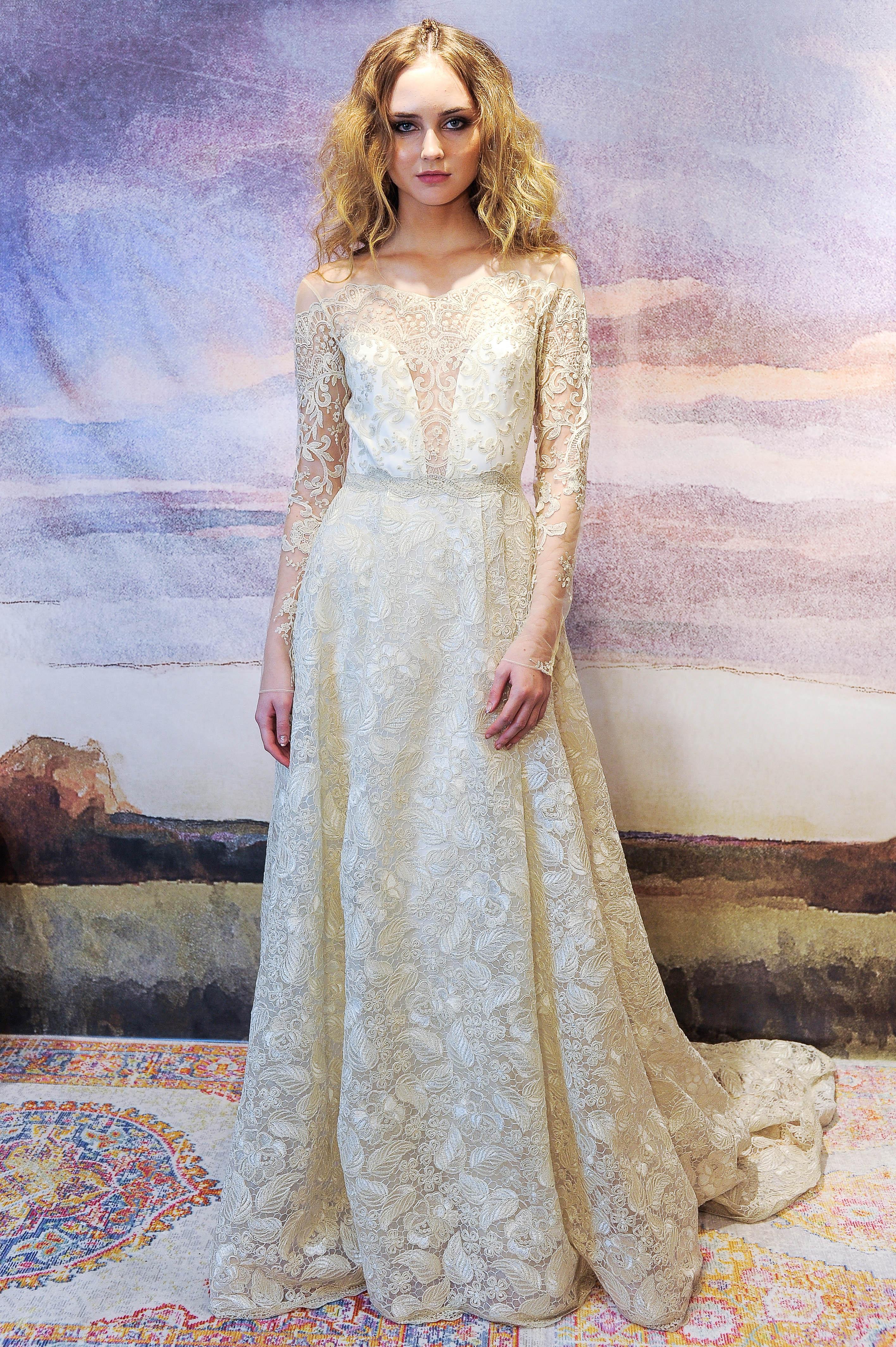 claire pettibone long sleeve lace wedding dress fall 2018