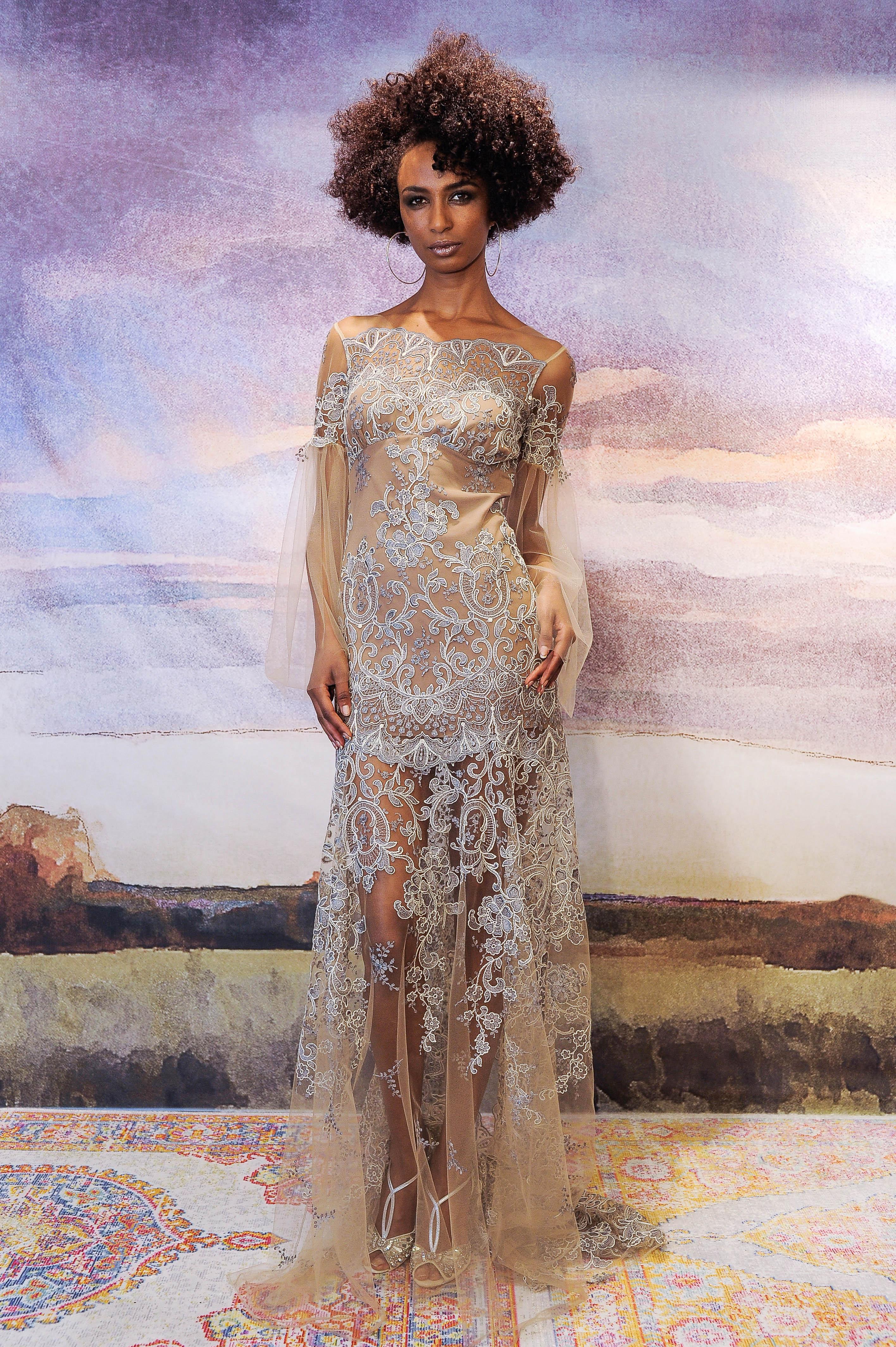 claire pettibone nude sheath wedding dress with lace applique fall 2018