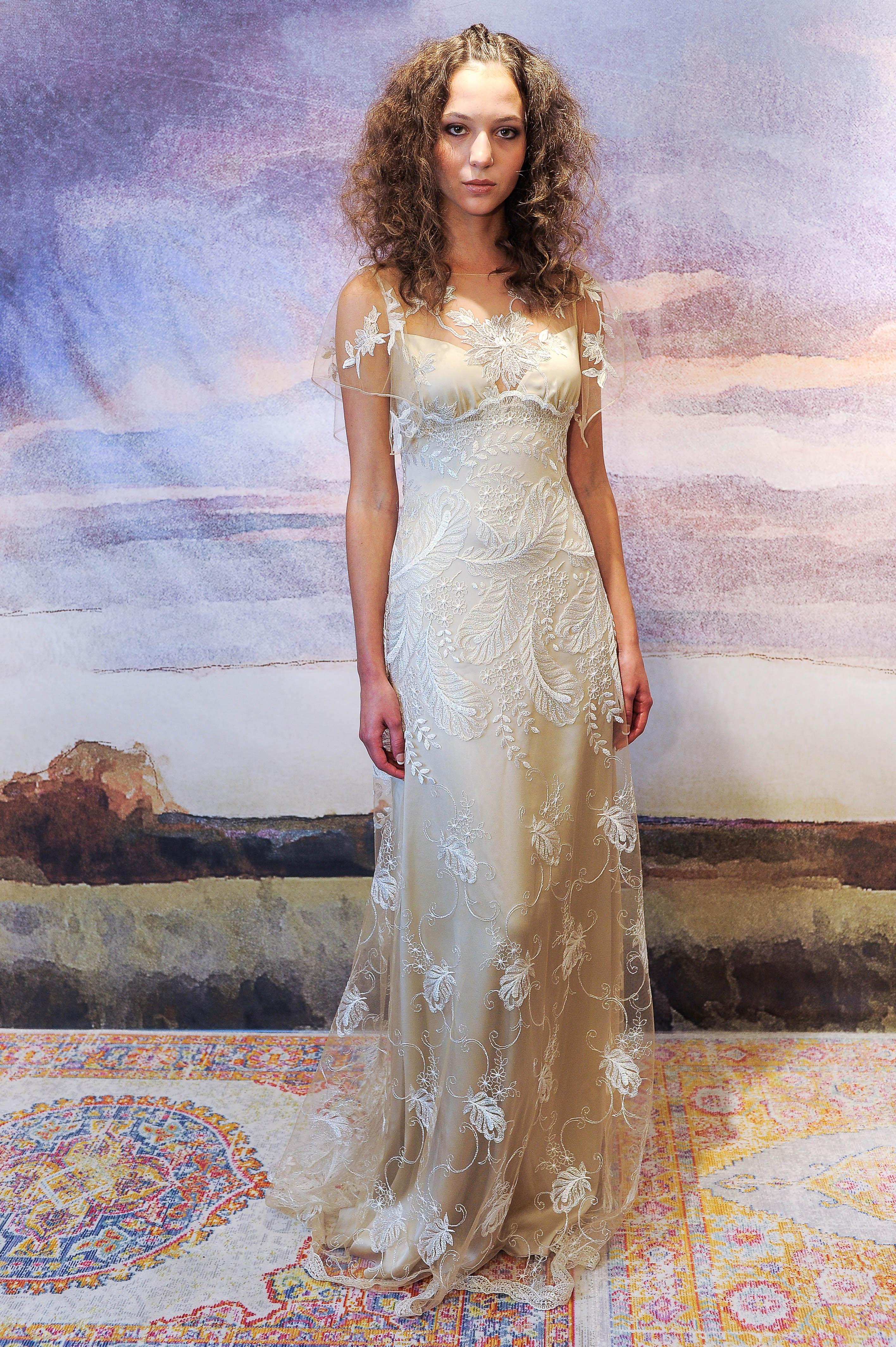 claire pettibone silk sheath wedding dress with shear overlay fall 2018