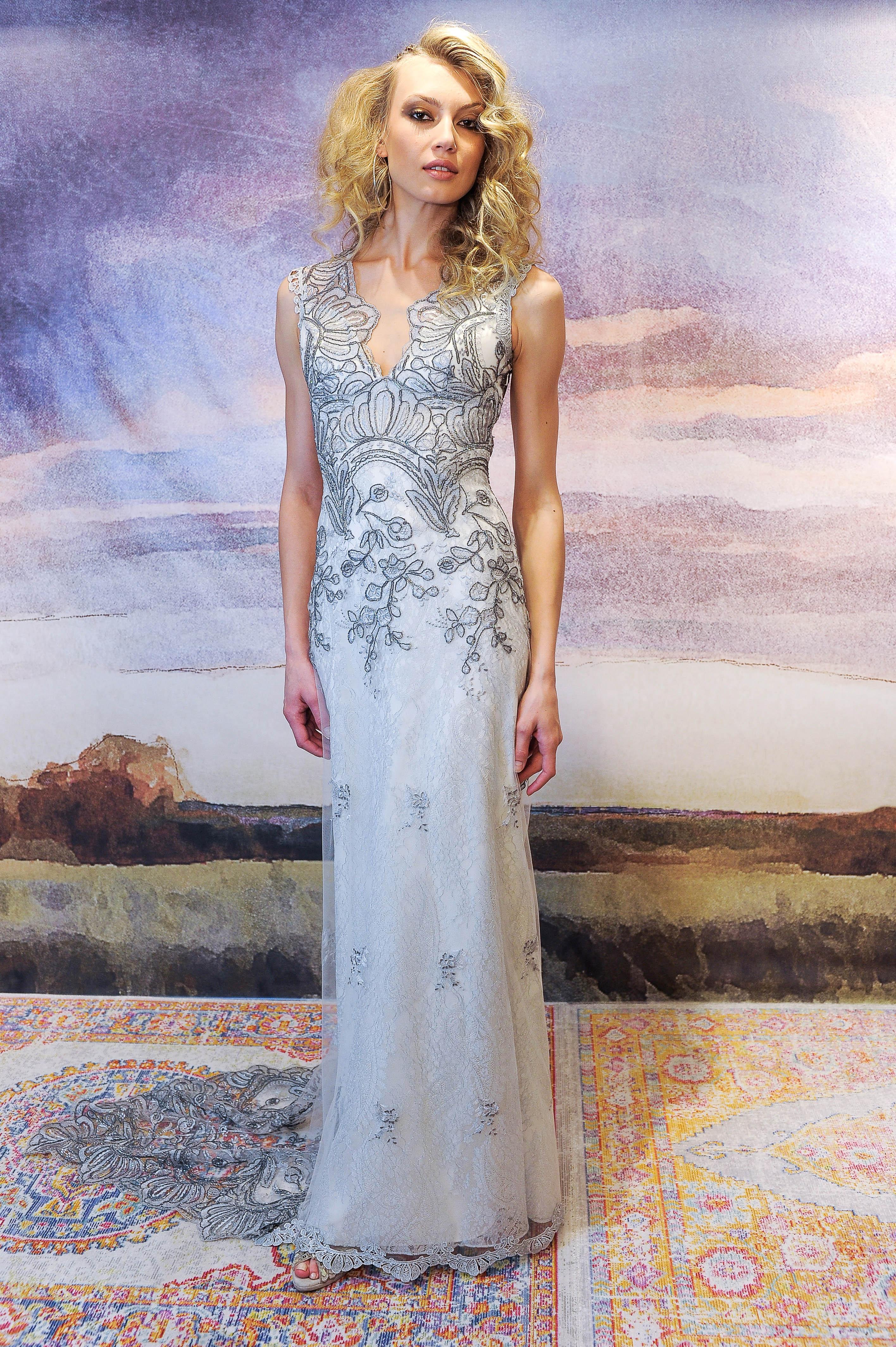 claire pettibone sheath wedding dress with applique fall 2018