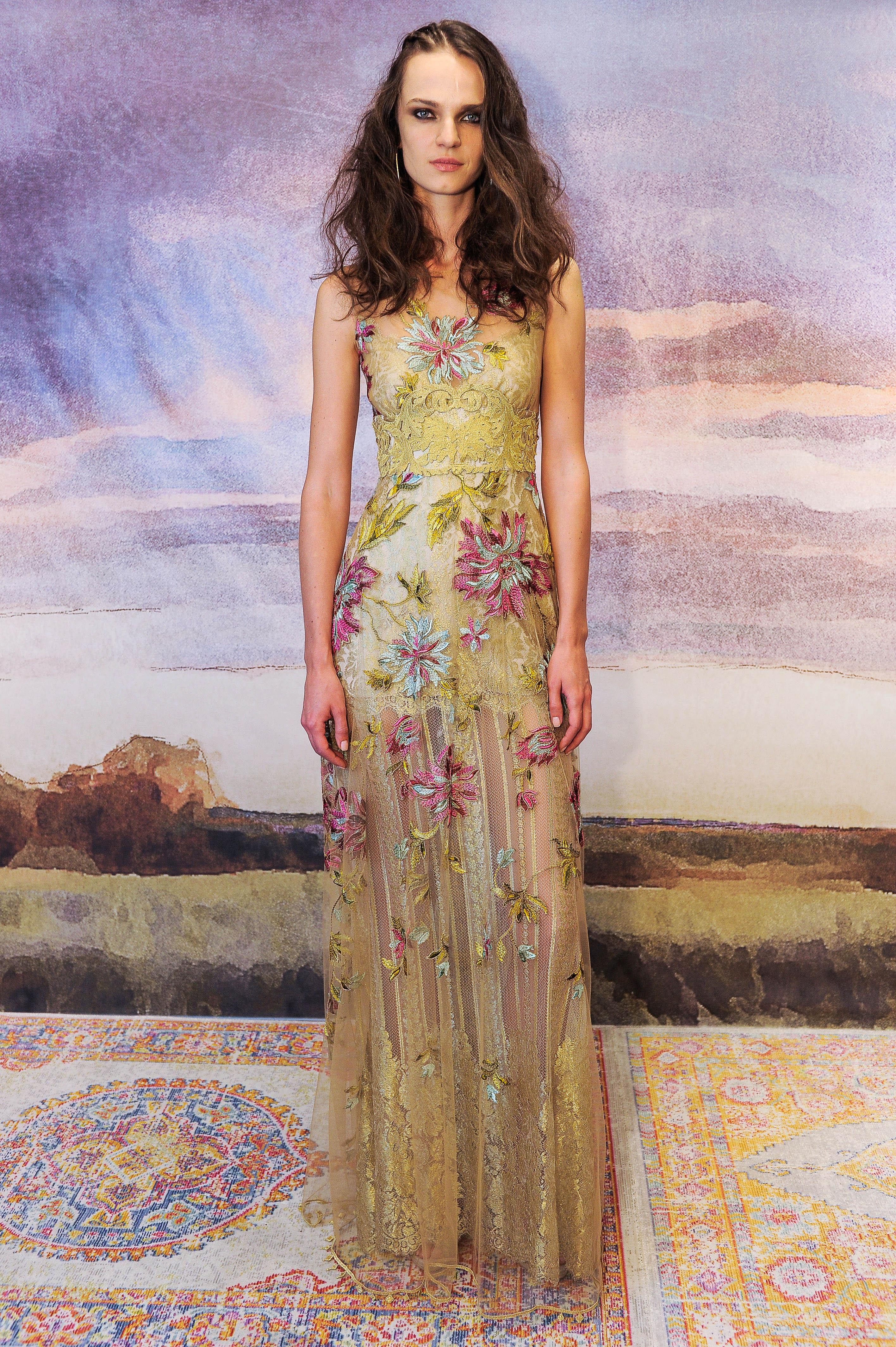 claire pettibone yellow floral sheath wedding dress fall 2018