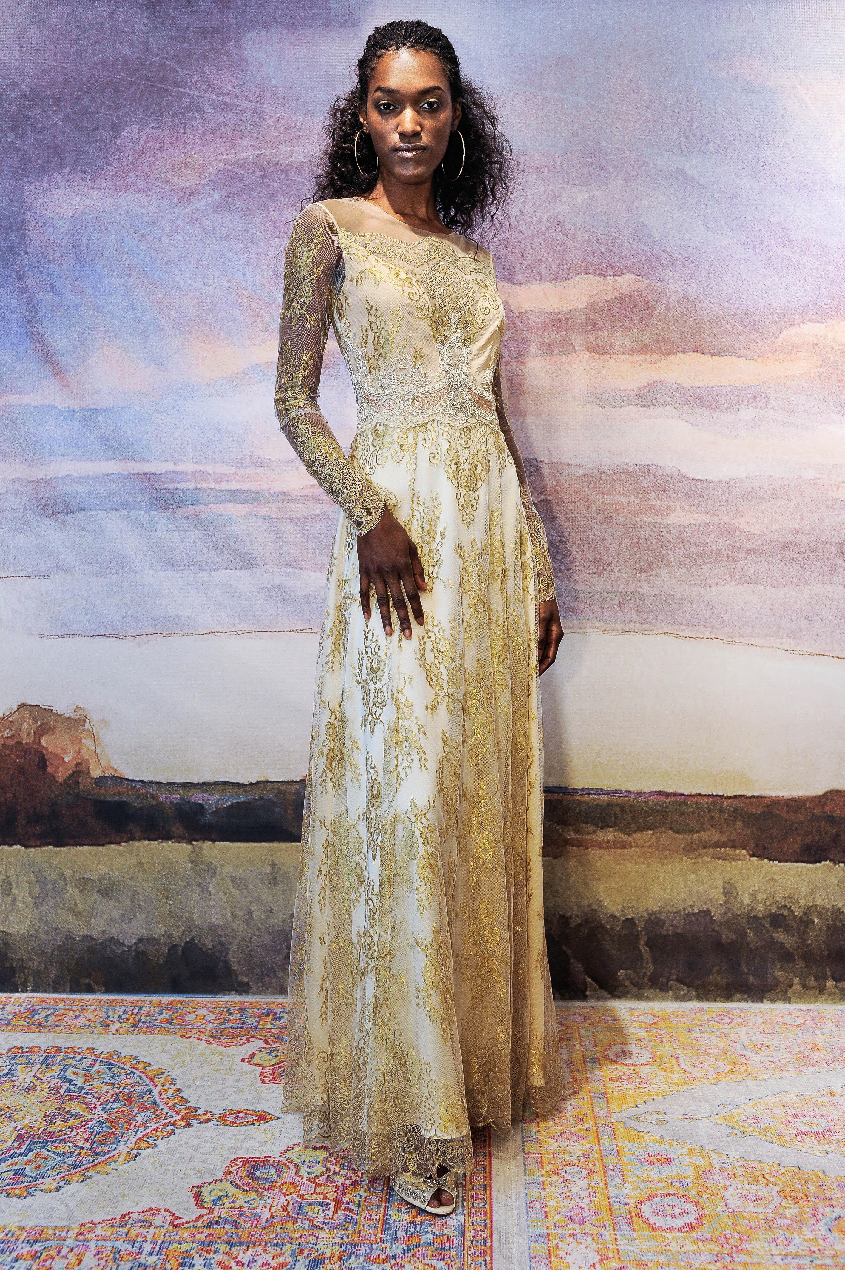 claire pettibone silk sheath wedding dress with gold applique fall 2018
