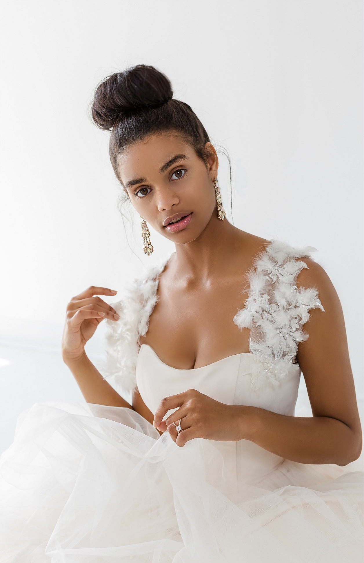 ivy aster dress fall 2018 feathers straps sweetheart tulle