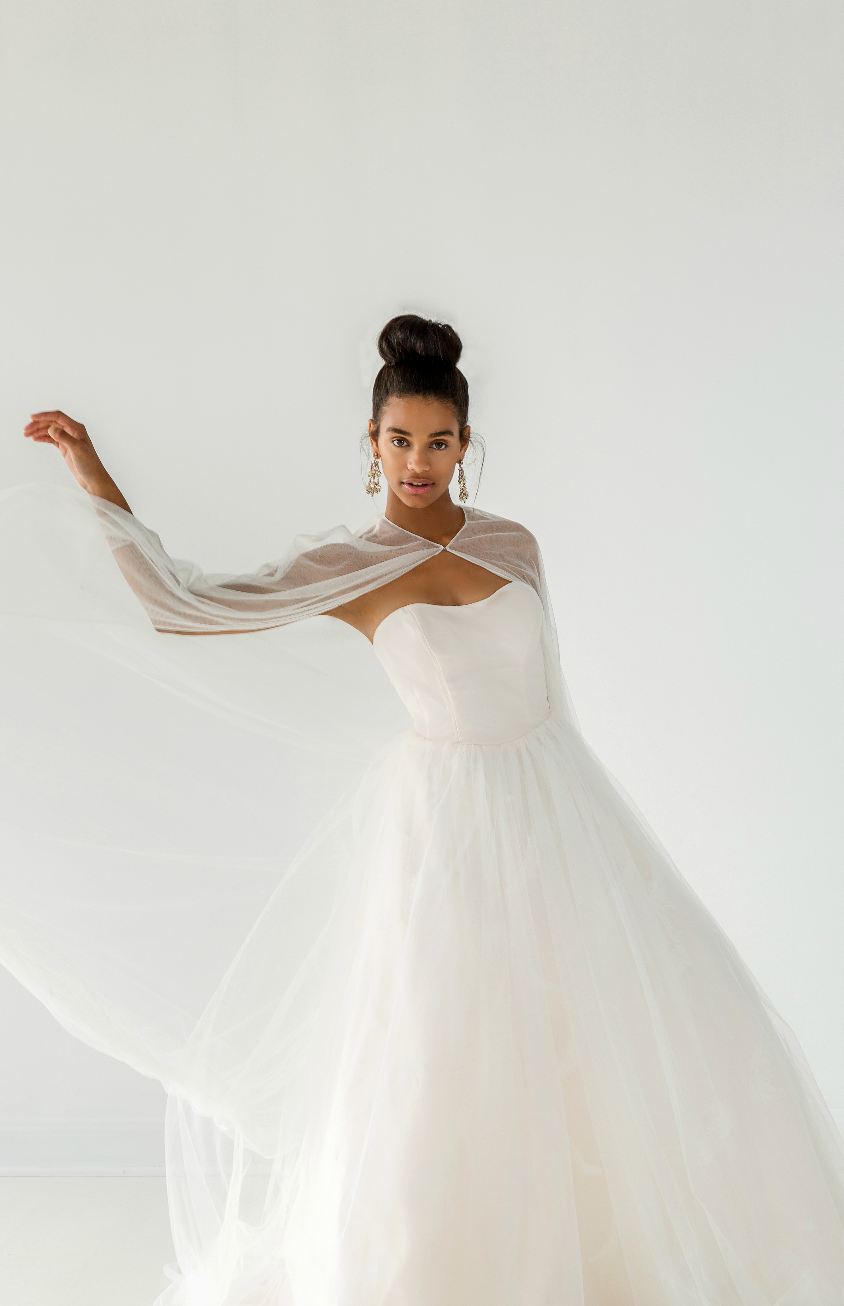 ivy aster dress fall 2018 strapless tulle ball gown cape