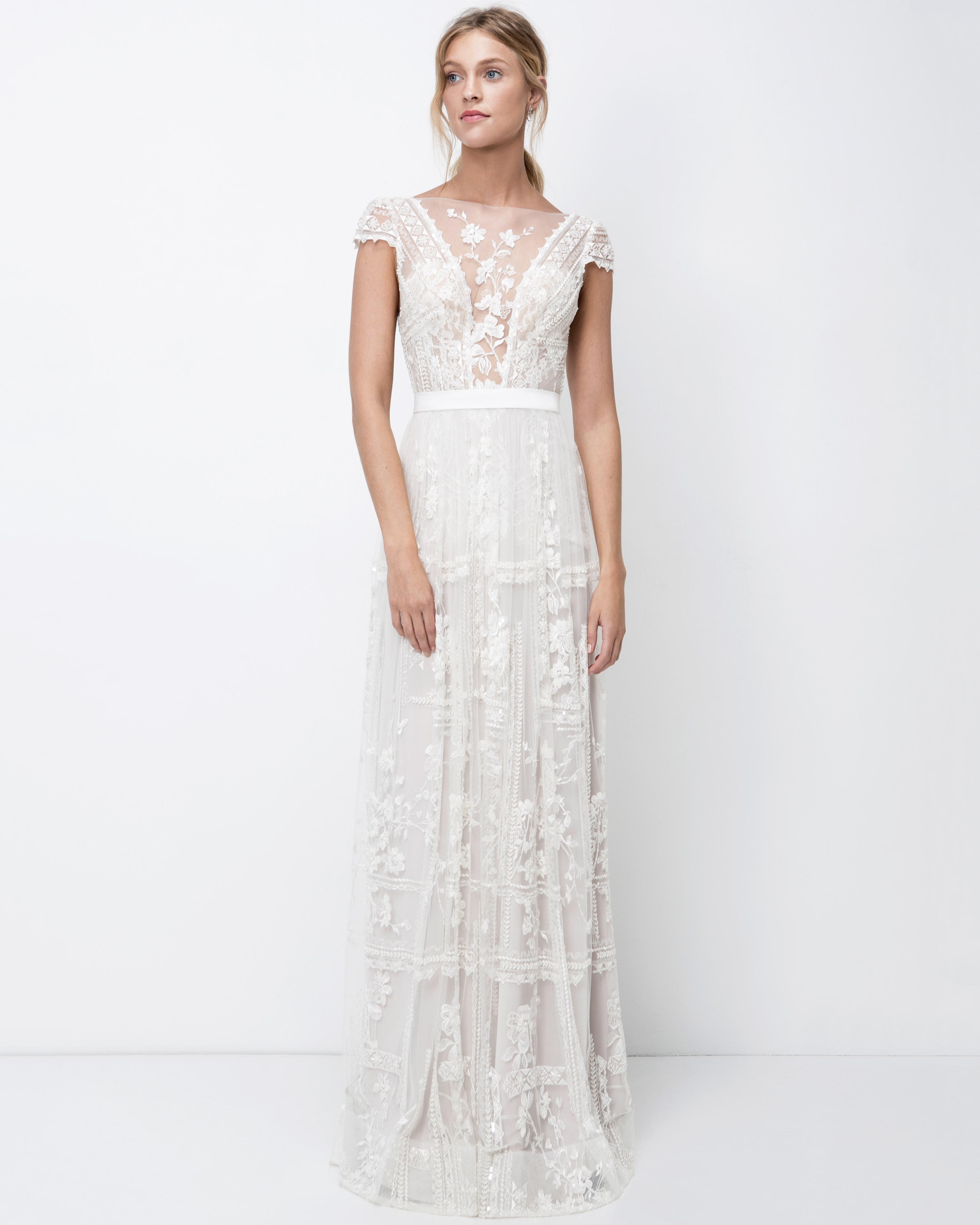 lihi hod sheath high neckline wedding dress with cap sleeves fall 2018