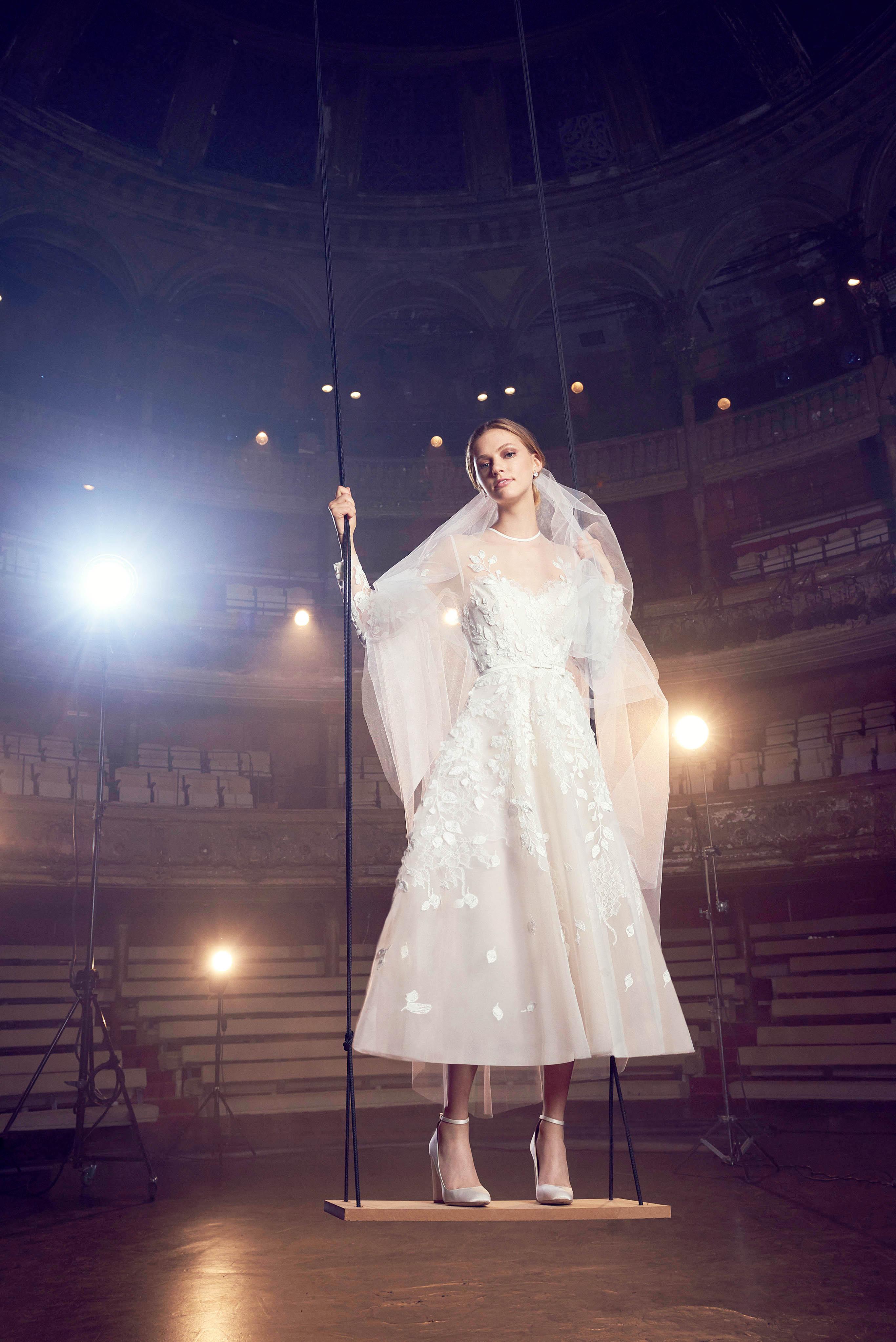 elie saab tea length wedding dress with embellishments fall 2018