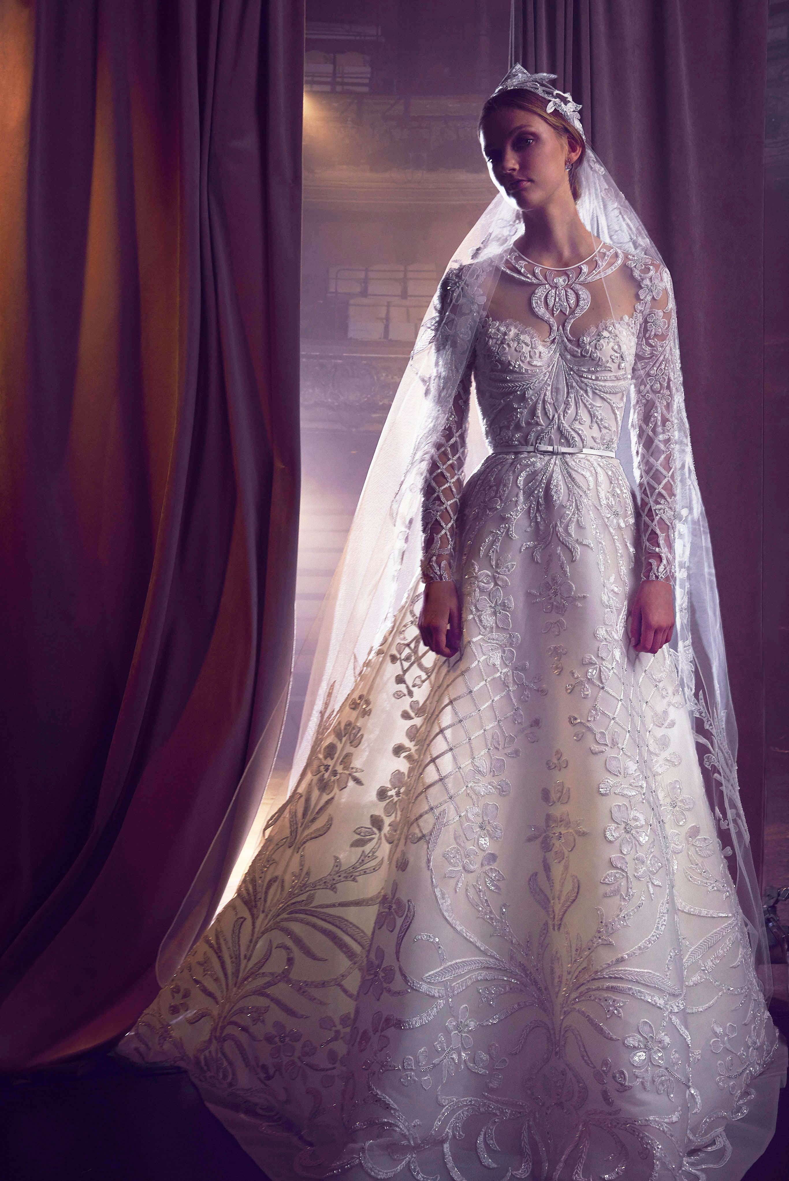 elie saab embellished long-sleeves a-line wedding dress fall 2018