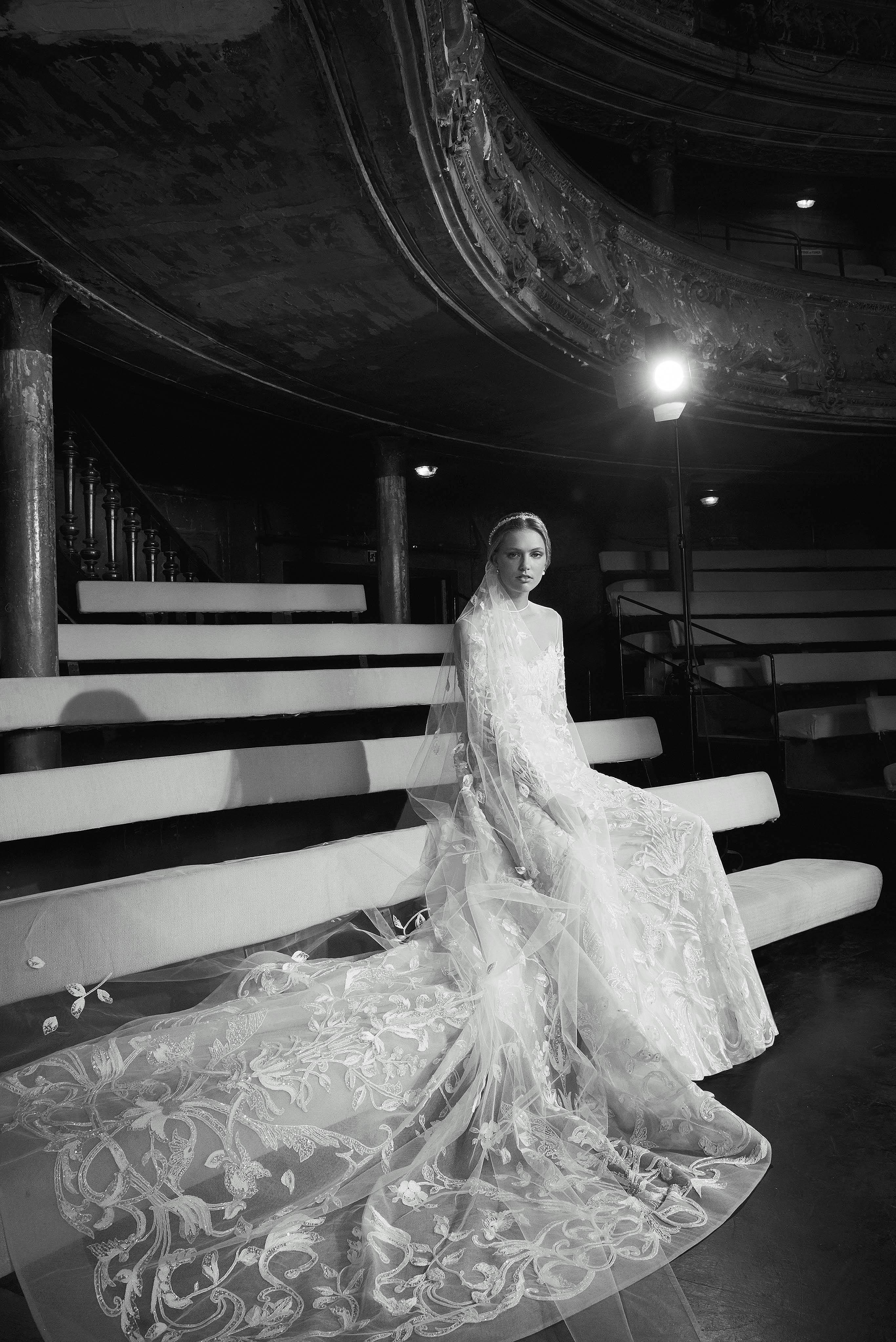 Elie Saab Sweetheart with Veil and Train Wedding Dress Fall 2018